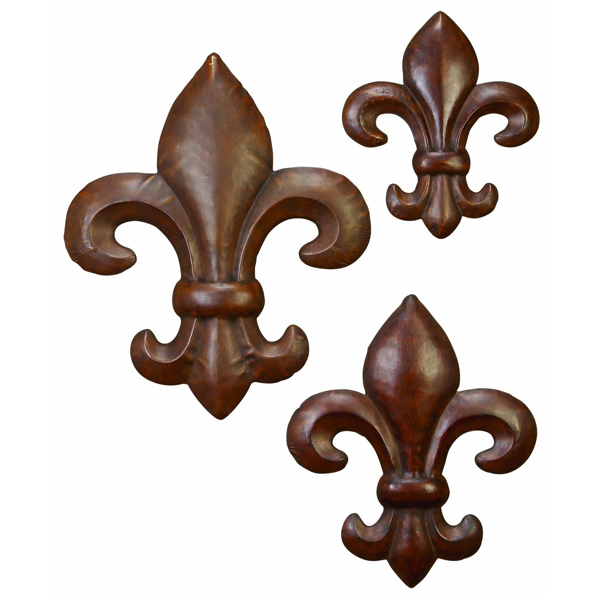 Bronze Wall Decor Woodland Imports 3 Piece Fleur De Lis Wall Dccor Set Reviews