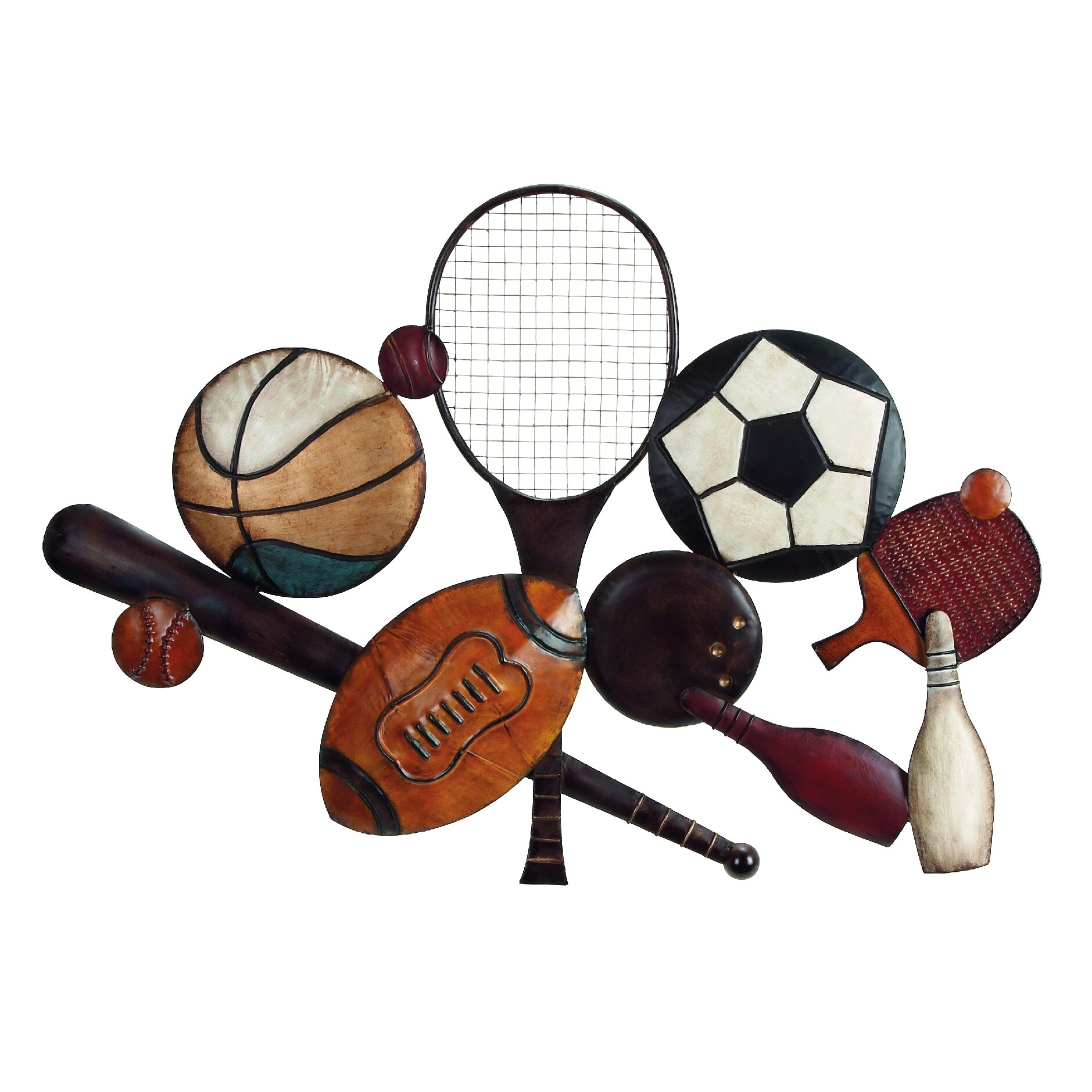 Woodland Imports Metal Sports Wall Du0026eacute;cor