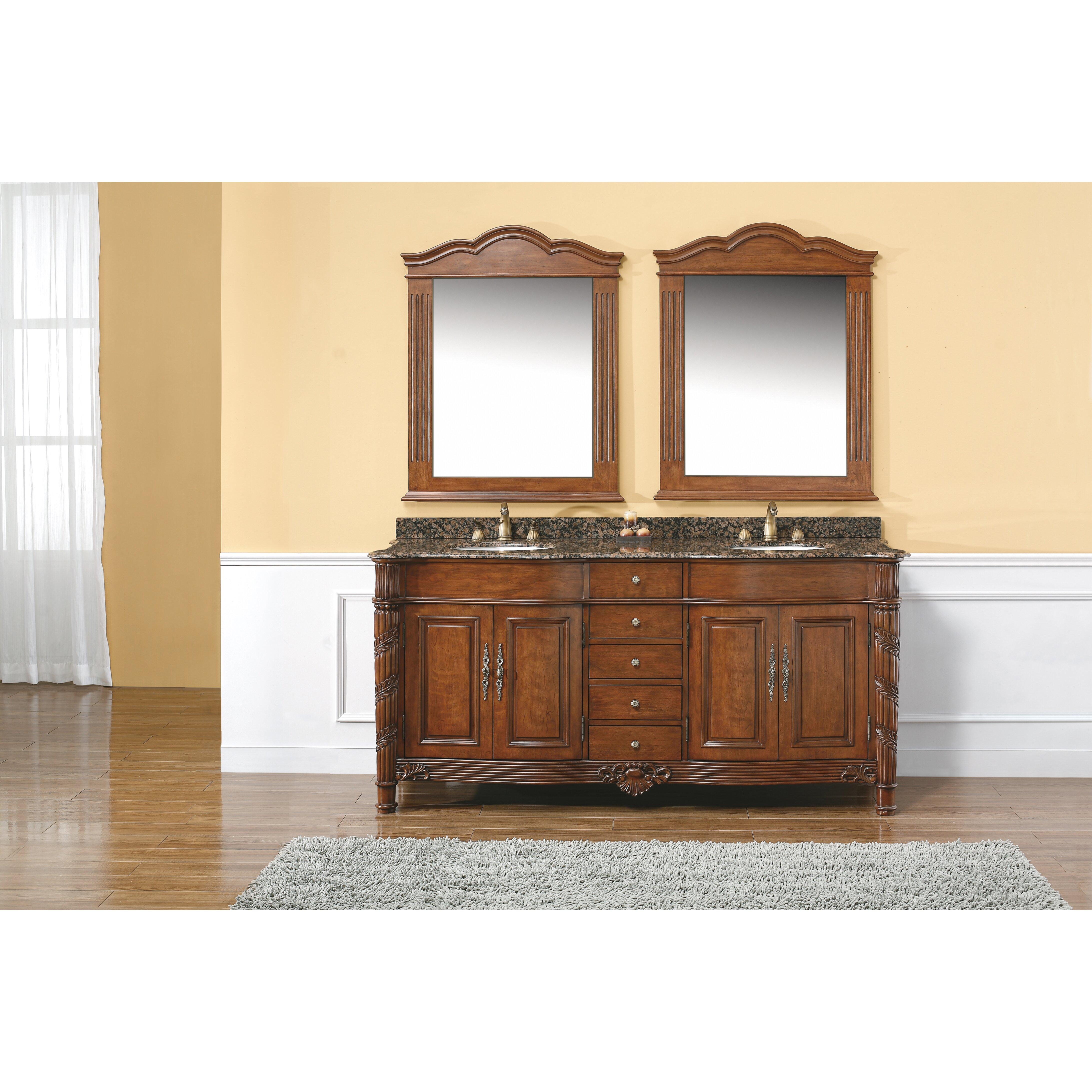 James martin furniture dalia 72 double cherry bathroom vanity set with drawers reviews wayfair for Cherry bathroom vanity