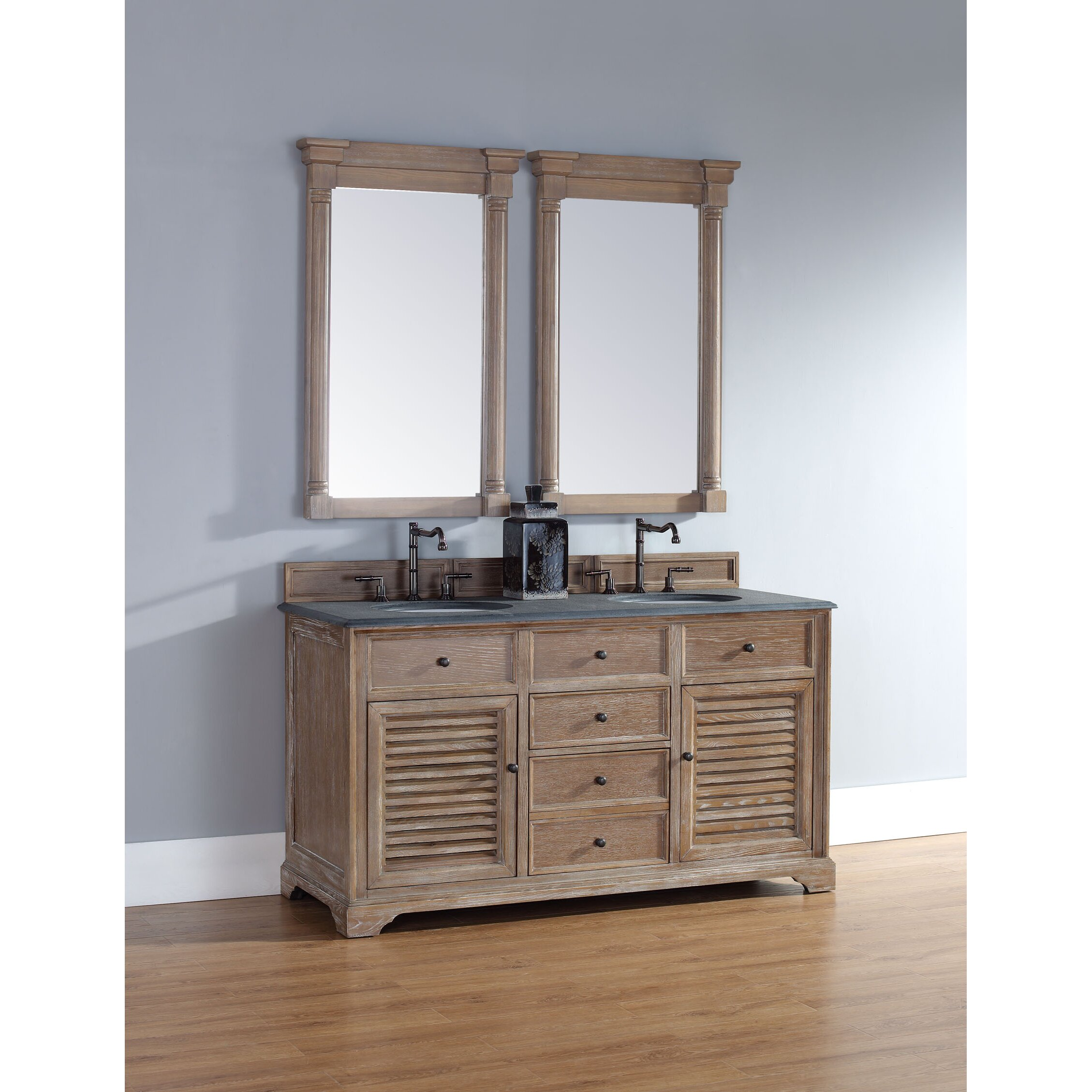 Driftwood Bathroom Mirror - James martin furniture savannah 60 quot double driftwood bathroom vanity set james martin furniture savannah