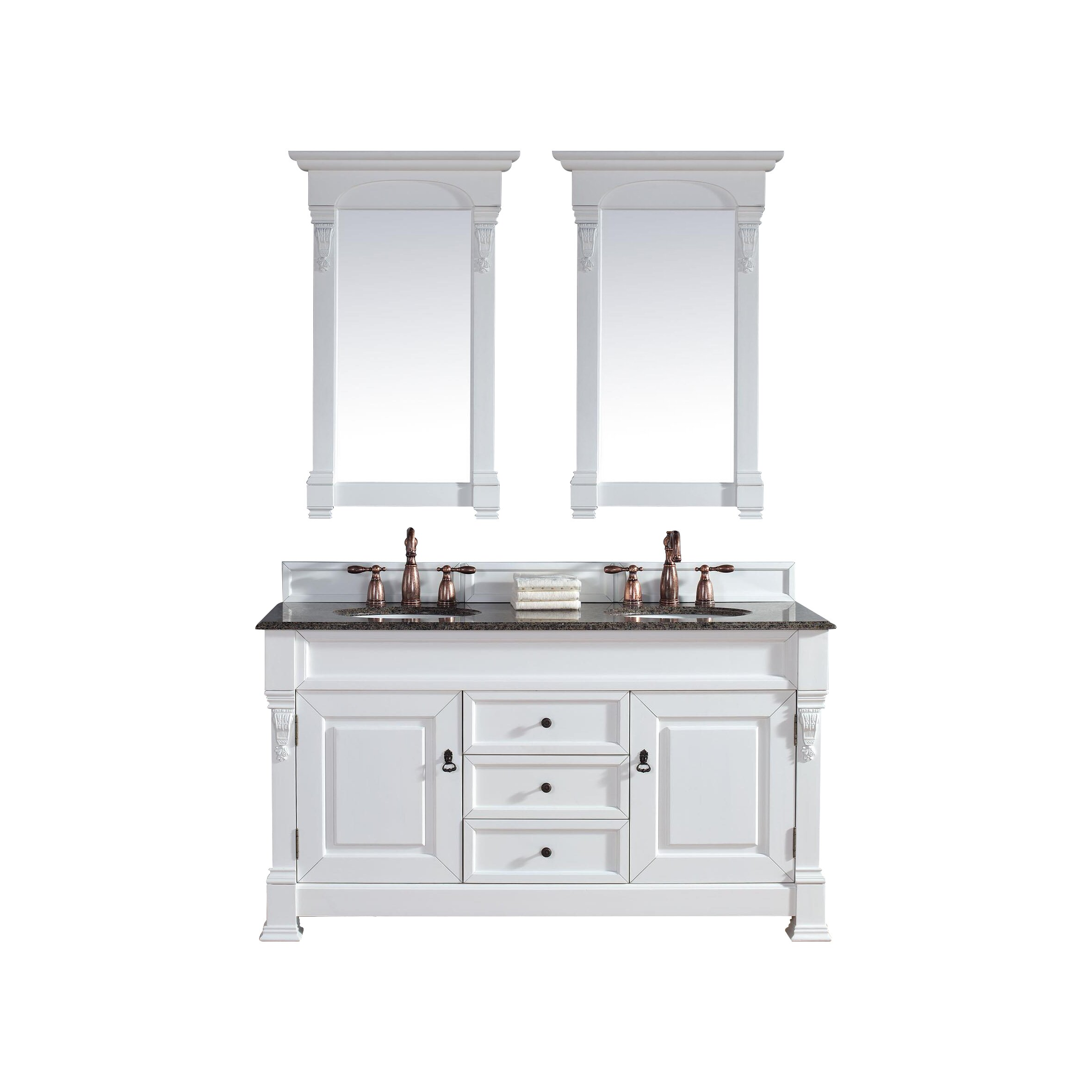 James Martin Furniture Brookfield 60 Double Cottage White Bathroom Vanity Set With Drawers