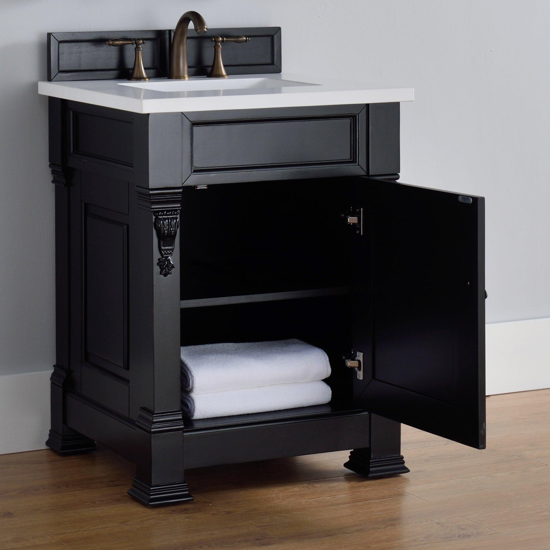 "Black Bathroom Vanity Set: James Martin Furniture Brookfield 26"" Single Antique Black"