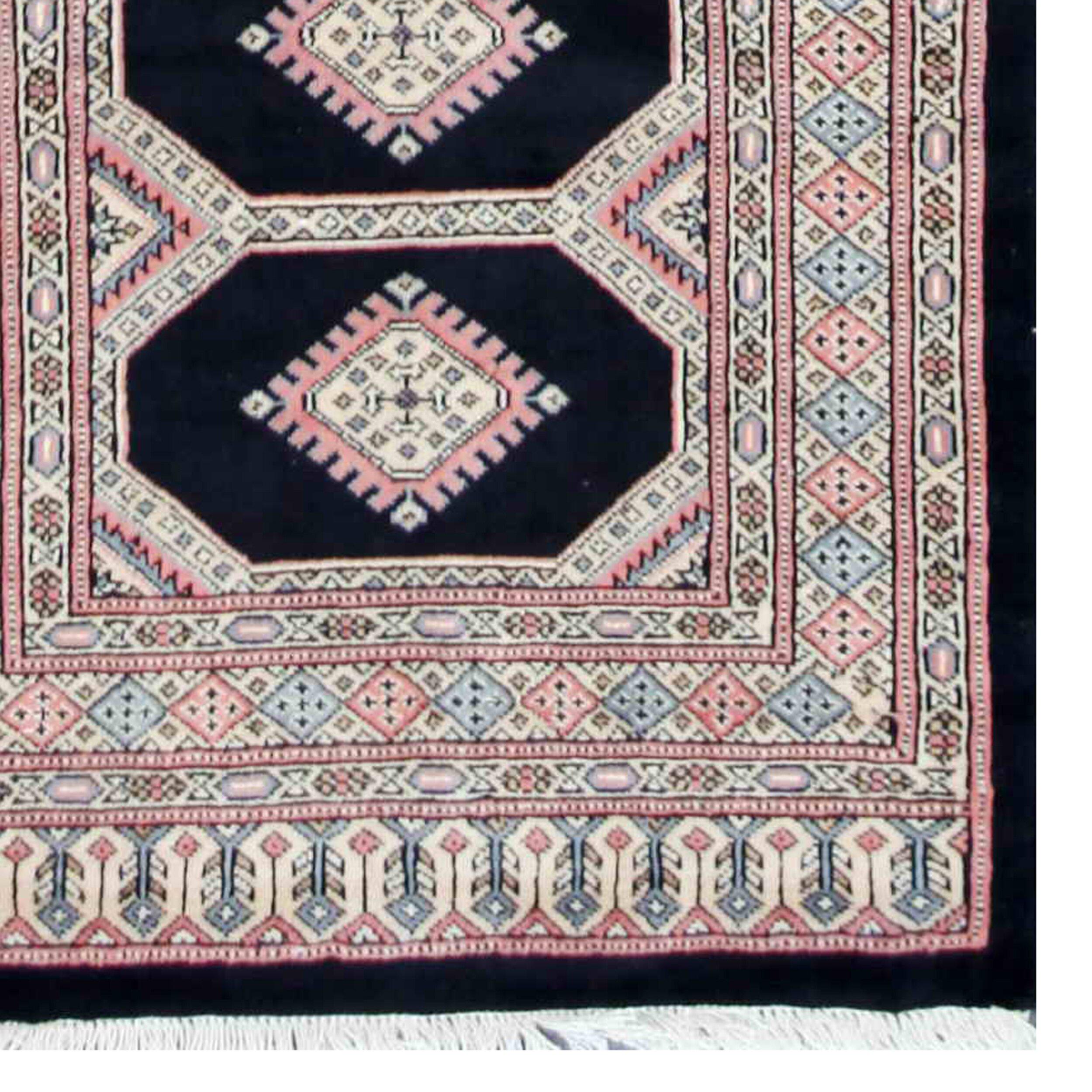 herat oriental tribal bokhara hand knotted black pink area rug wayfair. Black Bedroom Furniture Sets. Home Design Ideas