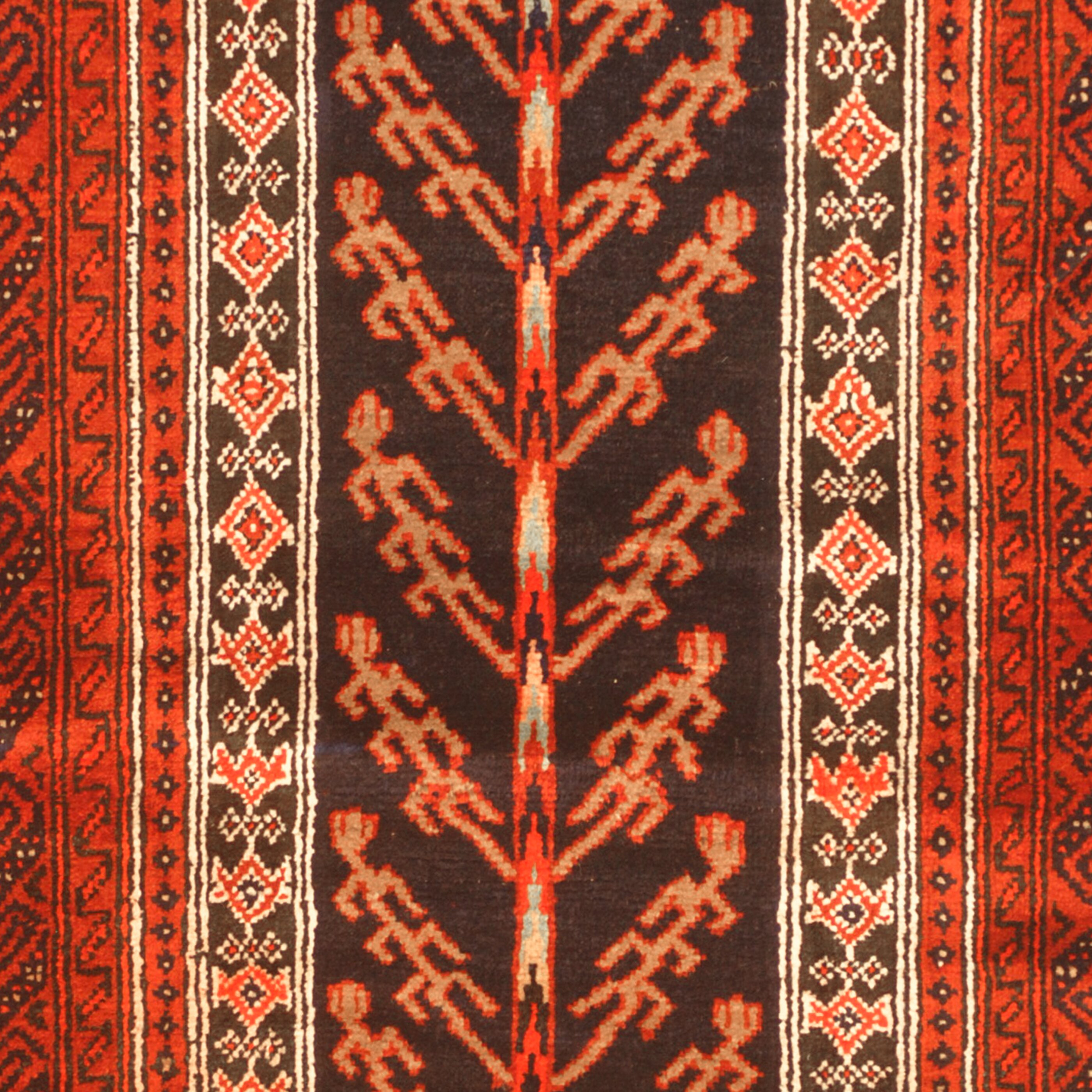 Herat Oriental Hand Tufted Wool Red Black Area Rug: Herat Oriental Balouchi Hand-Knotted Navy/Red Area Rug