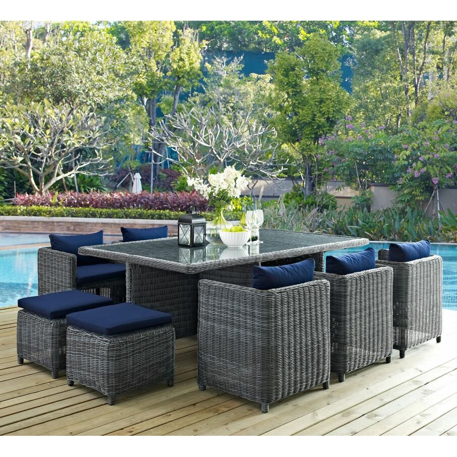 Modway Summon 11 Piece Outdoor Patio Dining Set with Cushion - Modway Summon 11 Piece Outdoor Patio Dining Set With Cushion Wayfair