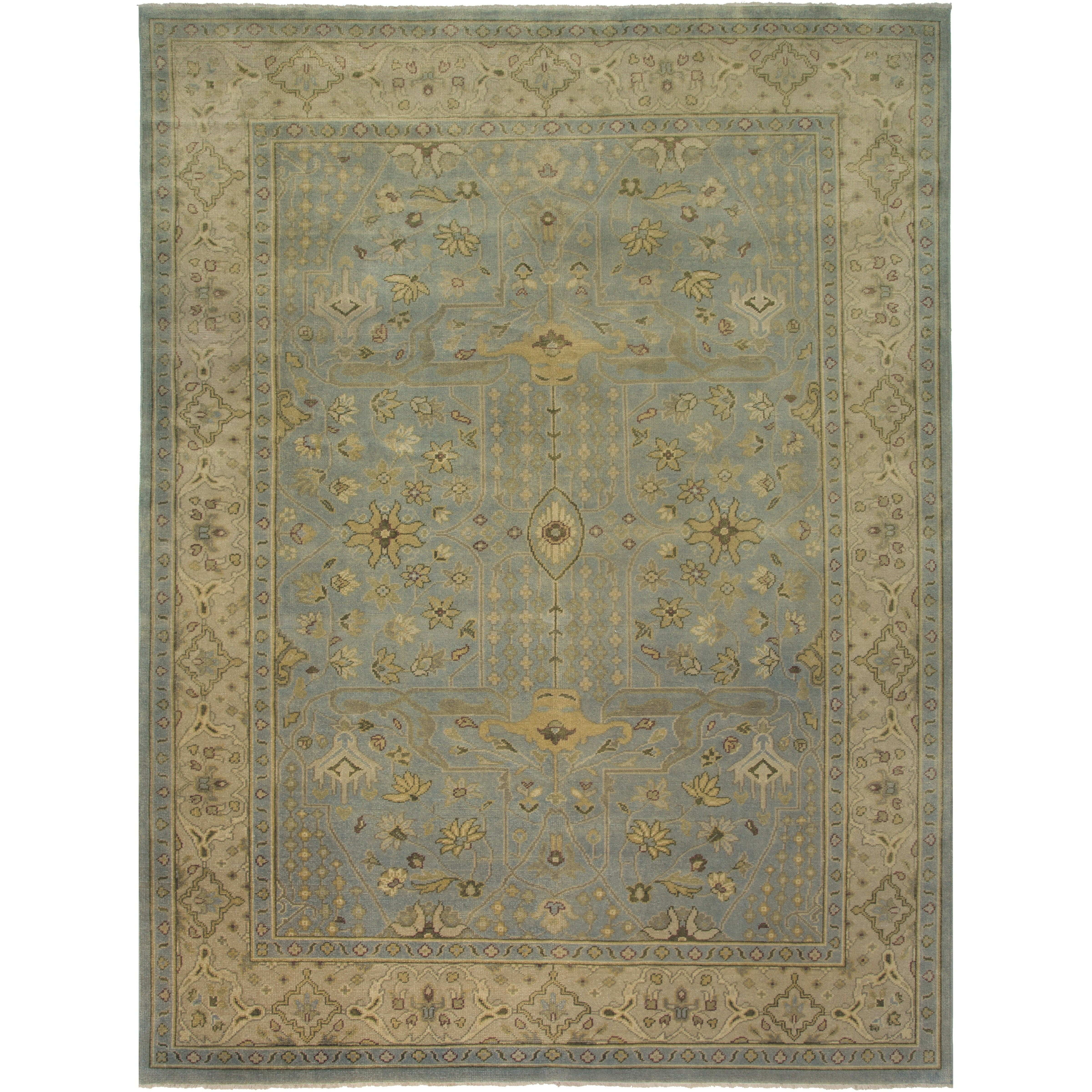 Pasargad Ny Persian Hand Knotted Wool Light Blue Ivory: Hand Knotted Area Rugs