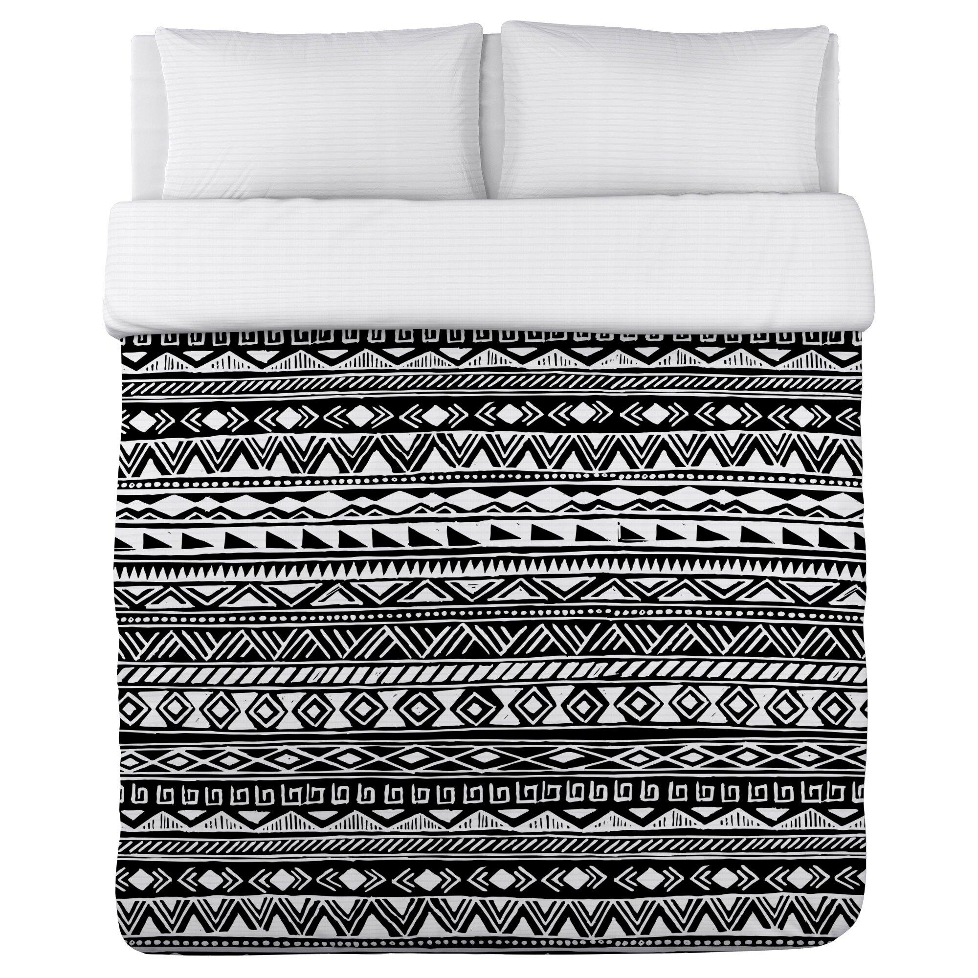 One Bella Casa Tribal Stripes Fleece Duvet Cover Wayfair