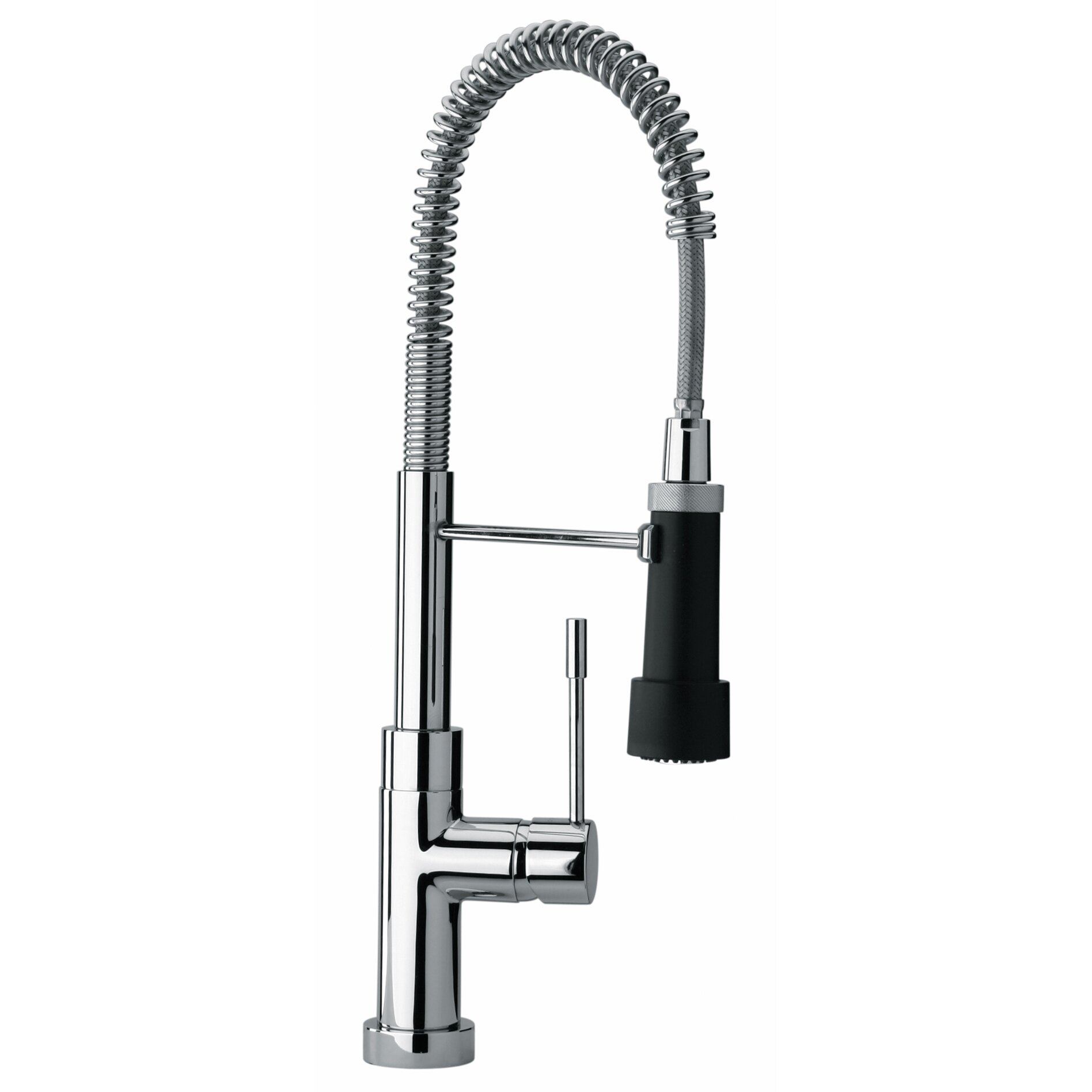 Jewel Faucets J25 Kitchen Series Single Hole Kitchen Faucet with Spring Spout and Magnetic Commercial Sprayer