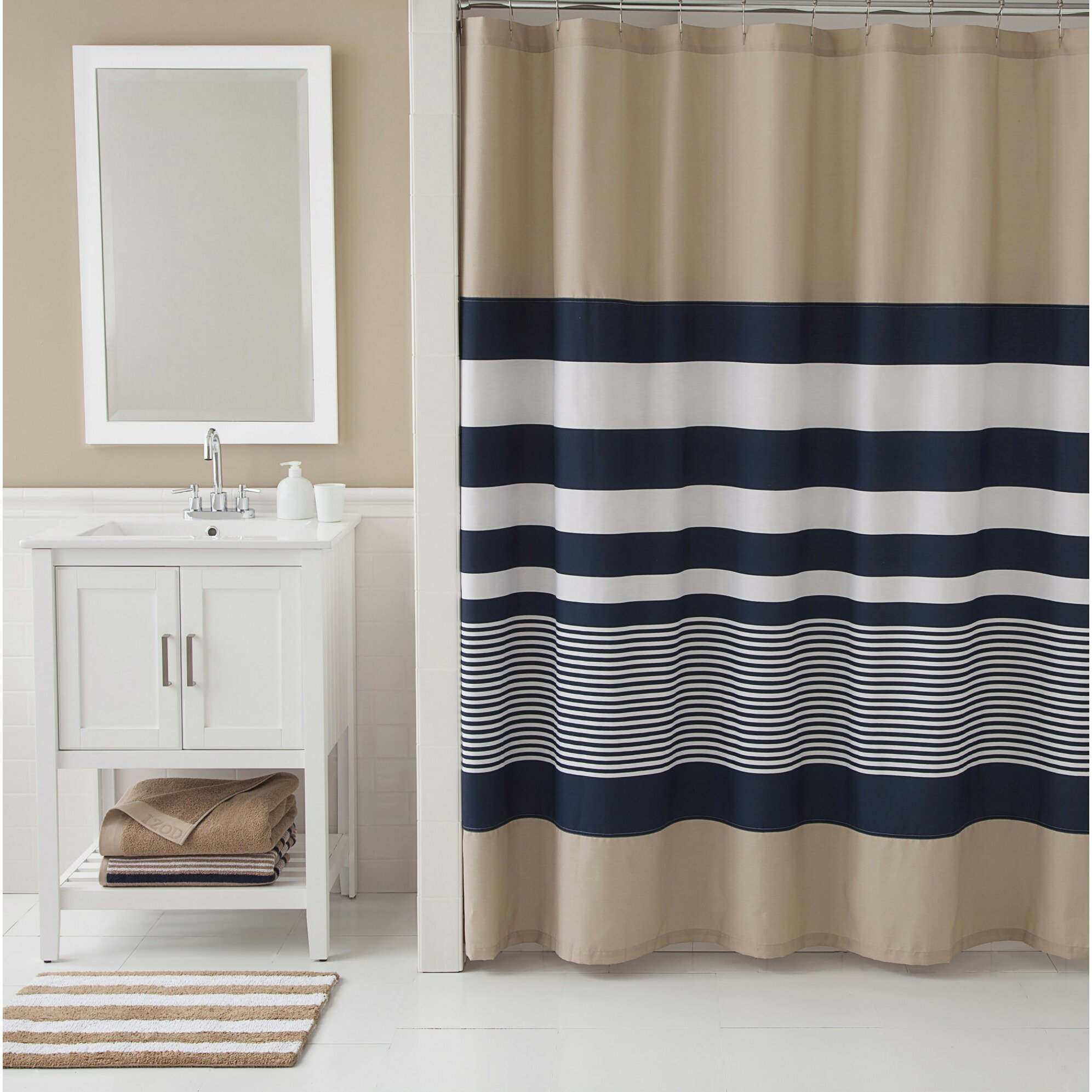 Yellow stripe shower curtain - Quick View Lorilee Stripe Shower Curtain