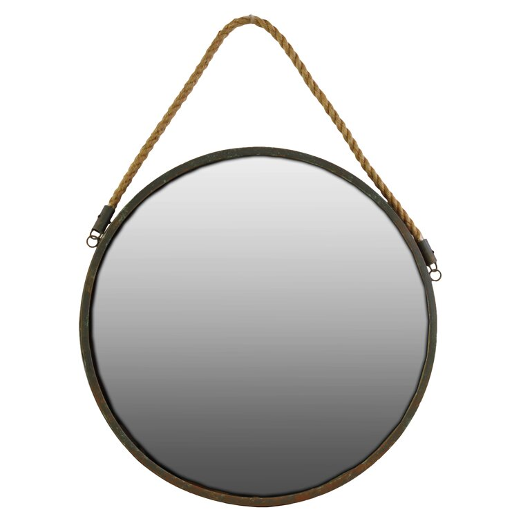 urban trends round wall mirror with rope reviews wayfair. Black Bedroom Furniture Sets. Home Design Ideas