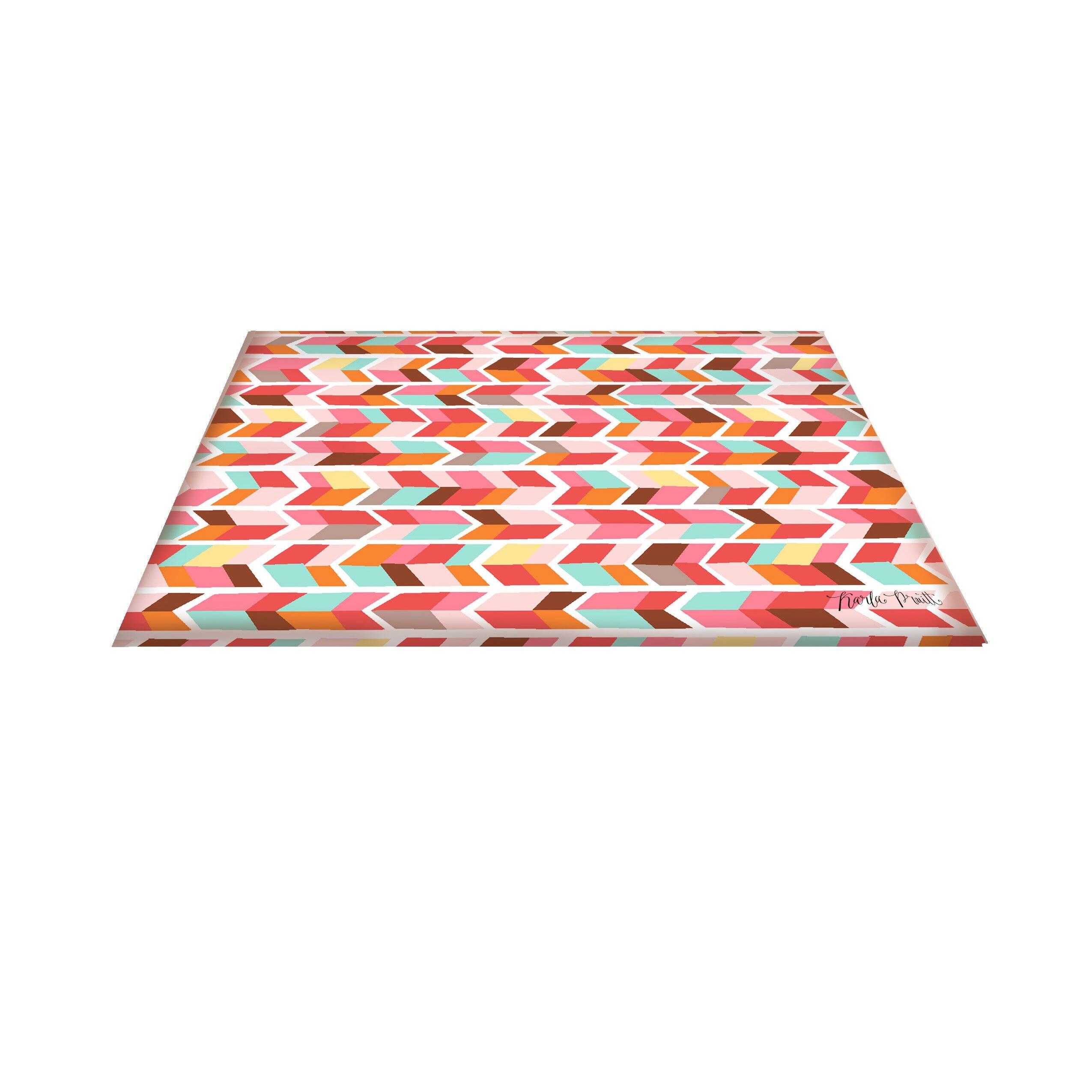 Manual woodworkers amp weavers arrowhead pink blue chevron area rug