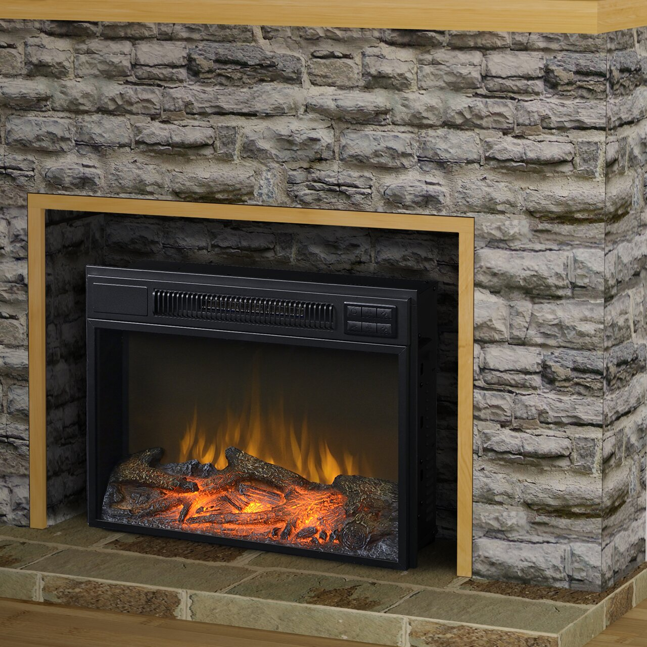 Country flame wood stove insert - Homestar Flamelux Wide Electric Fireplace Reviews Wayfair Country Flame