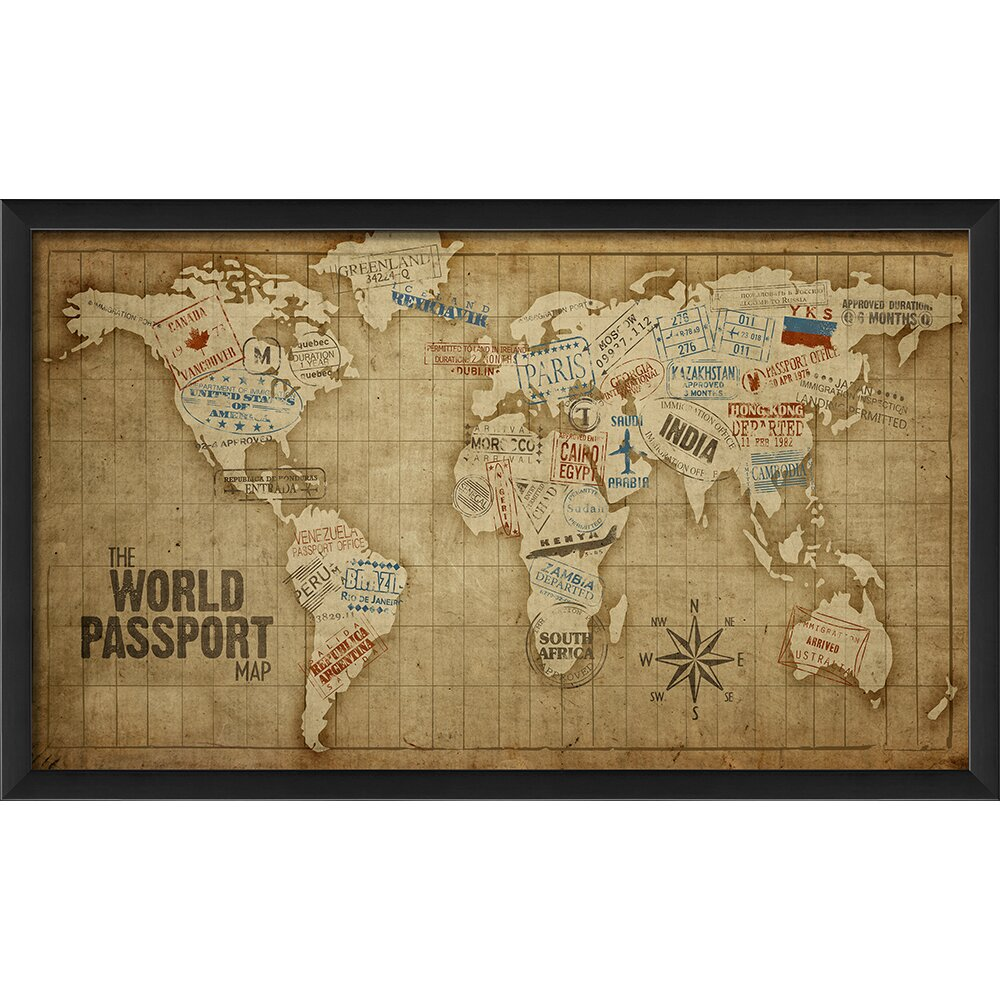 the artwork factory the world passport map framed graphic art