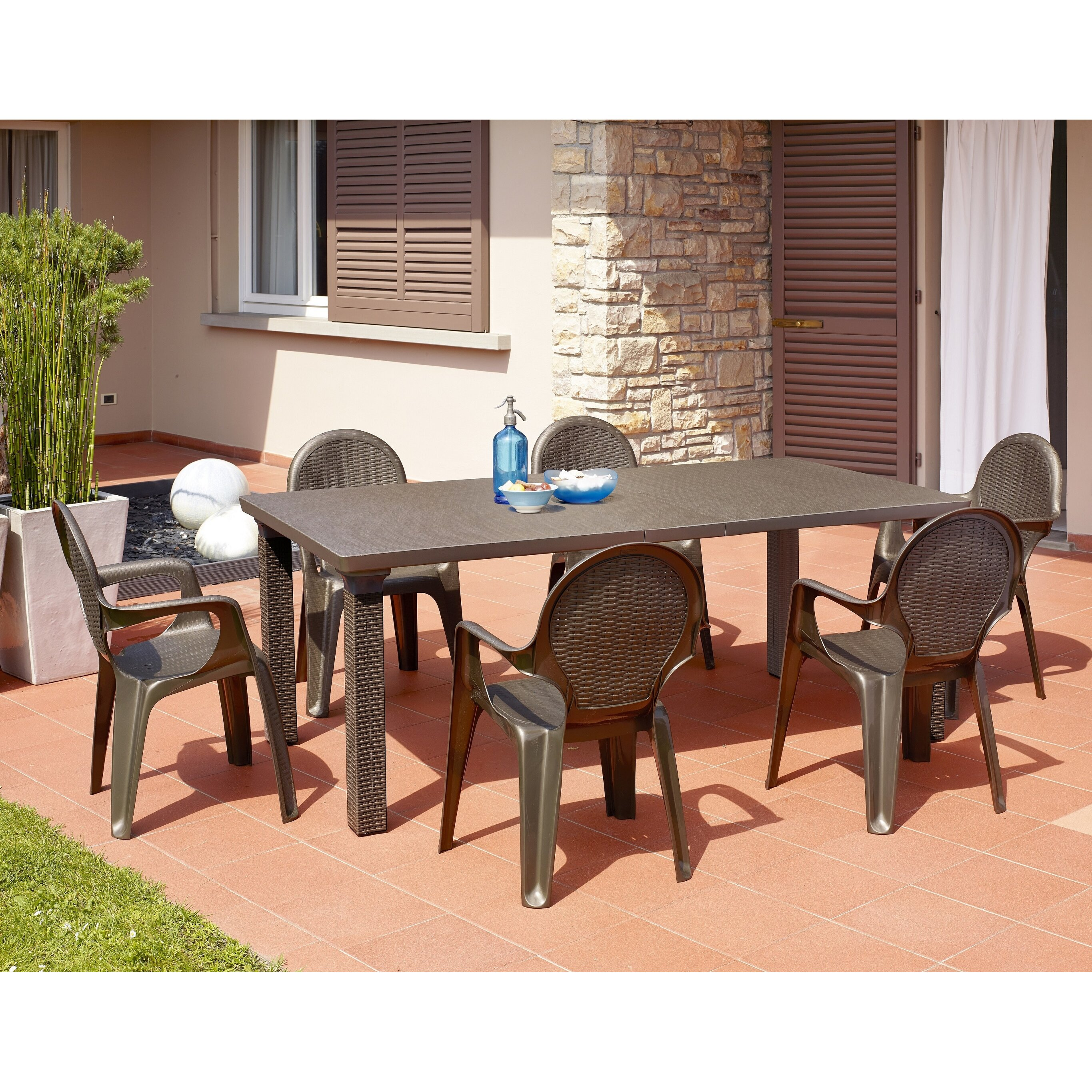 Extending Outdoor Dining Table Scab Triplo Rattan Style Extending Outdoor Dining Table Wayfair