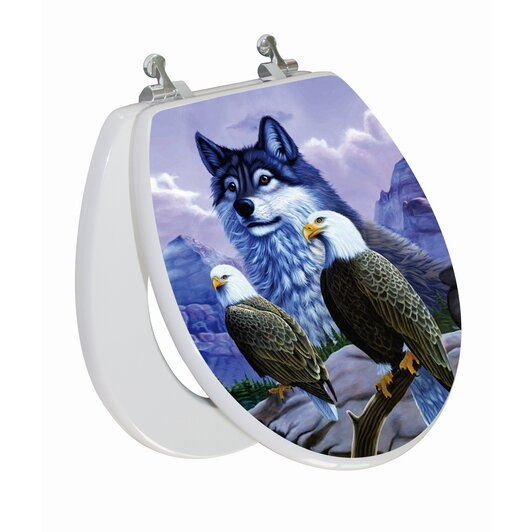 topseat 3d vario scenario series wolf and eagle round toilet seat topseat 3d vario scenario series wolf and eagle round toilet seat