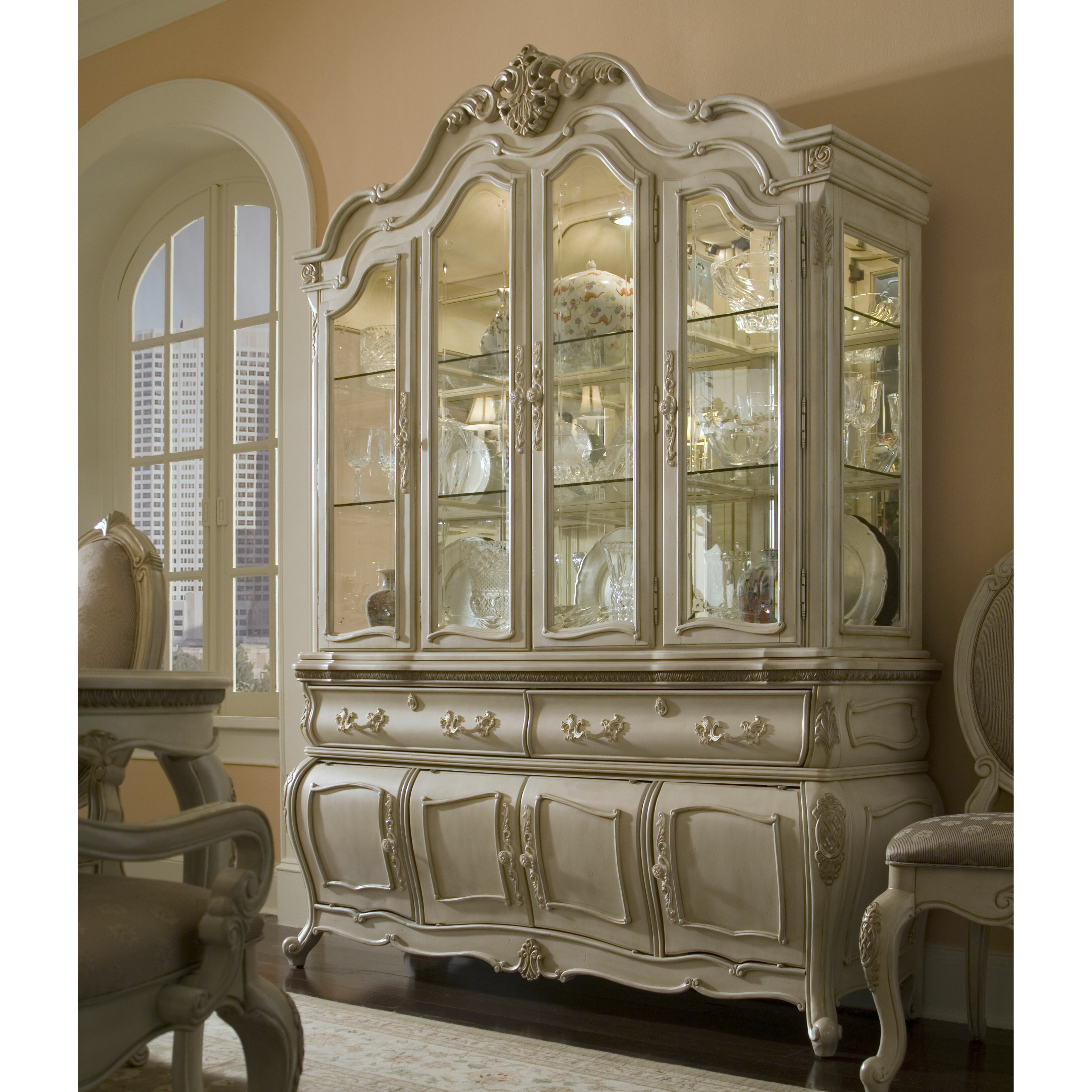 China Cabinet With Hutch Michael Amini Lavelle China Cabinet Reviews Wayfair