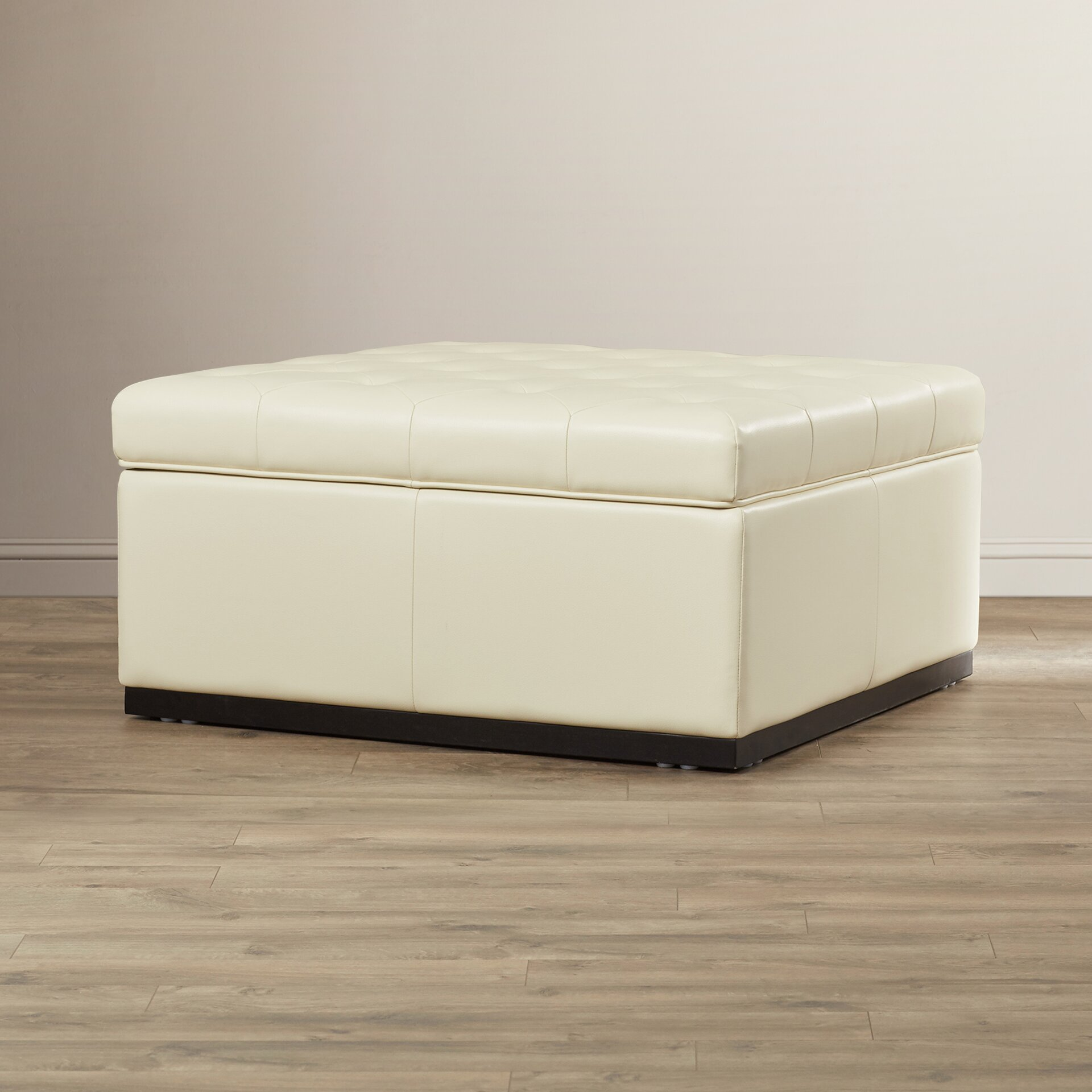 Sunpan Modern 5west Noah Tufted Cocktail Leather Ottoman