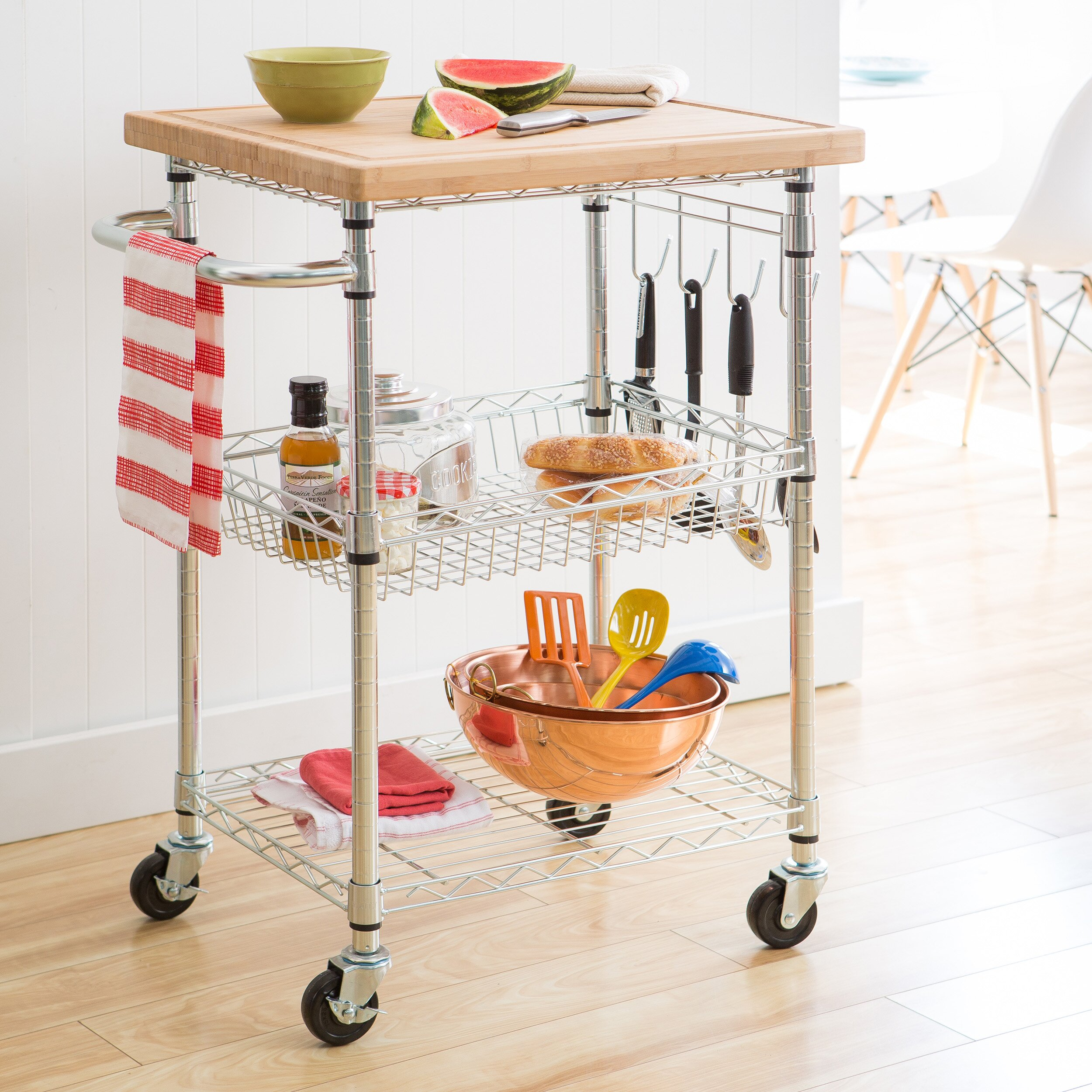 Trinity EcoStorage Kitchen Cart With Wood Top Reviews