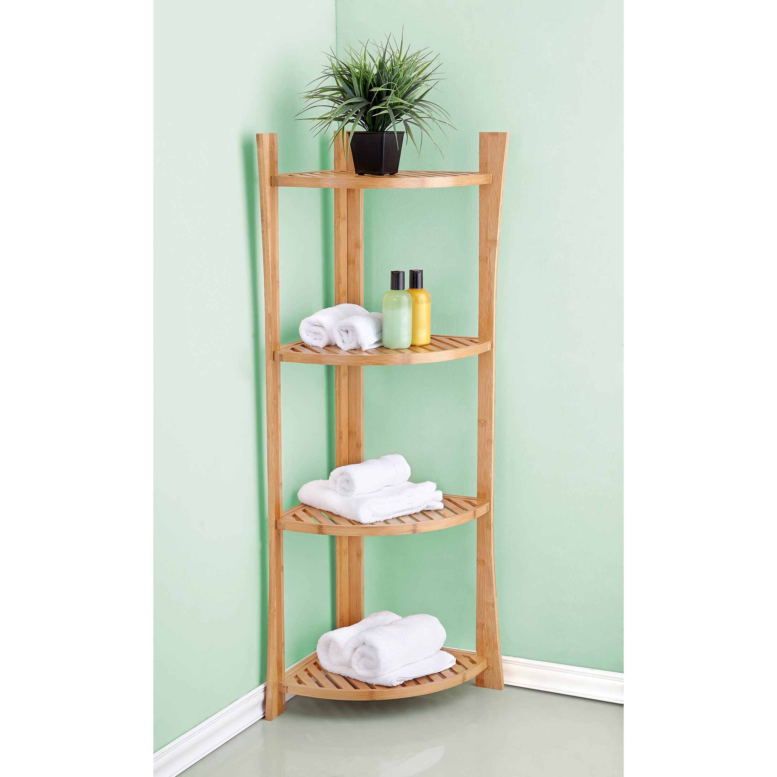 Bathroom Shelf Fox Hill Trading Bamboo Corner 15 W X 45 H Bathroom Shelf