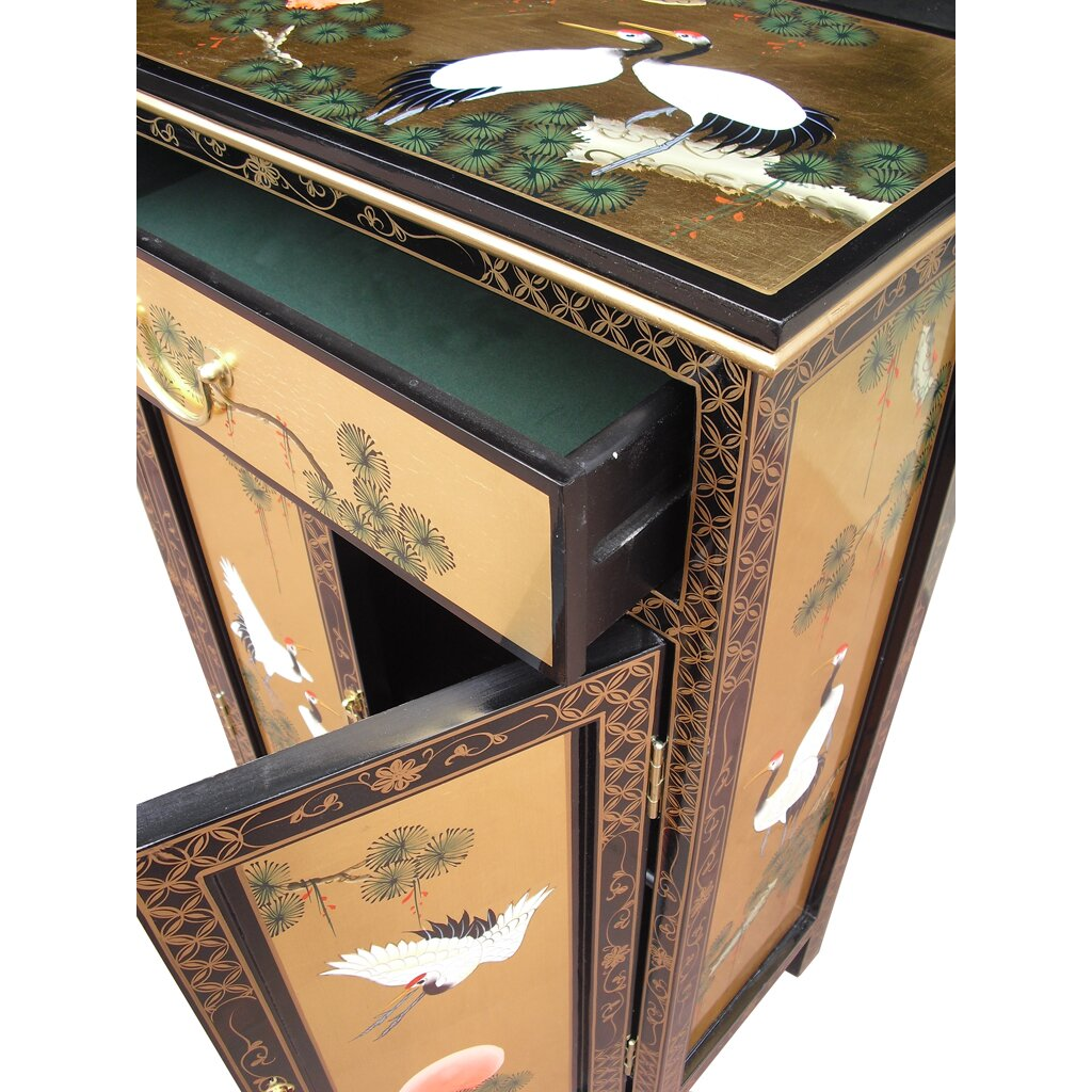 Grand international decor gold leaf 2 door 1 drawer for Grand international decor
