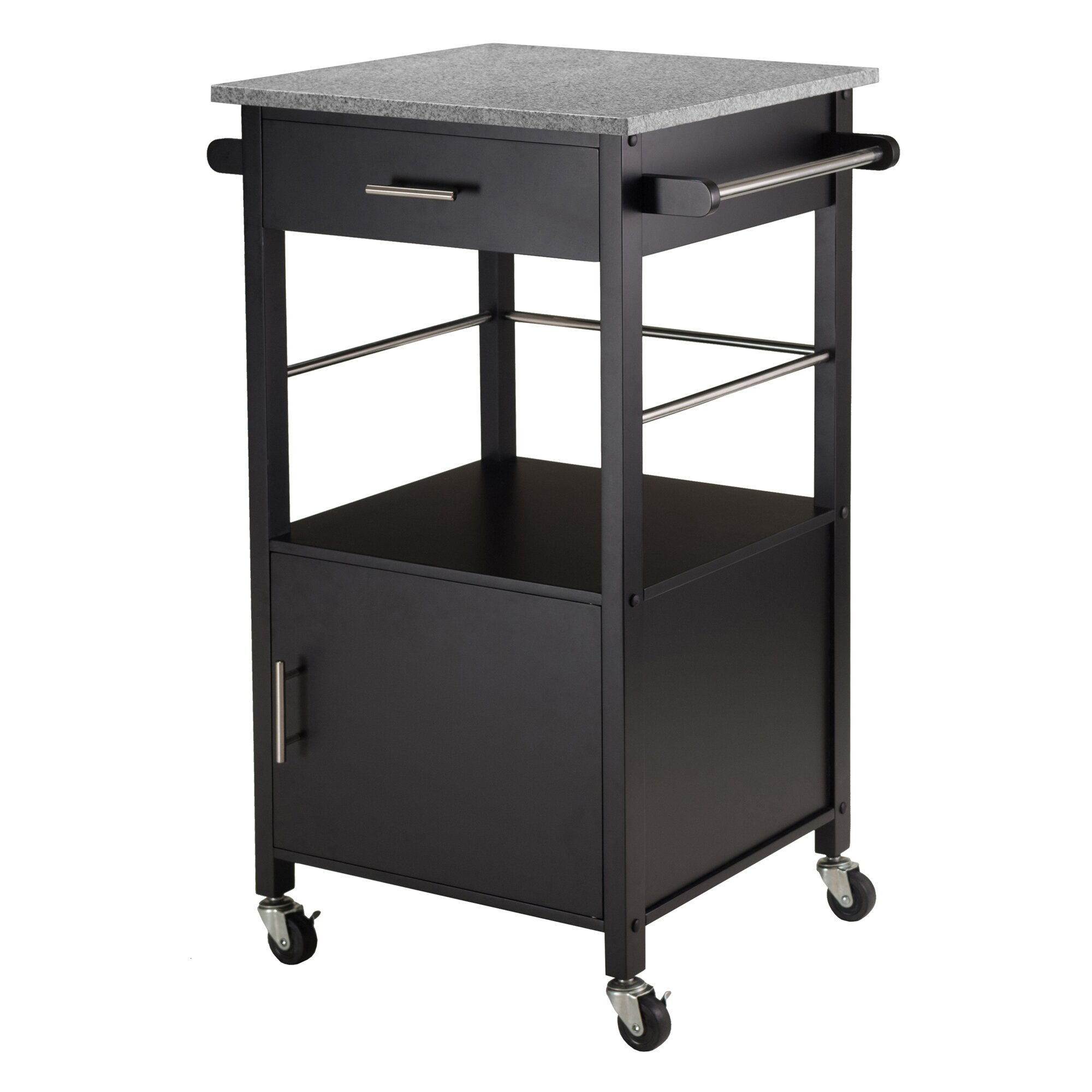 White Kitchen Cart With Granite Top Winsome Davenport Kitchen Cart With Granite Top Reviews Wayfair