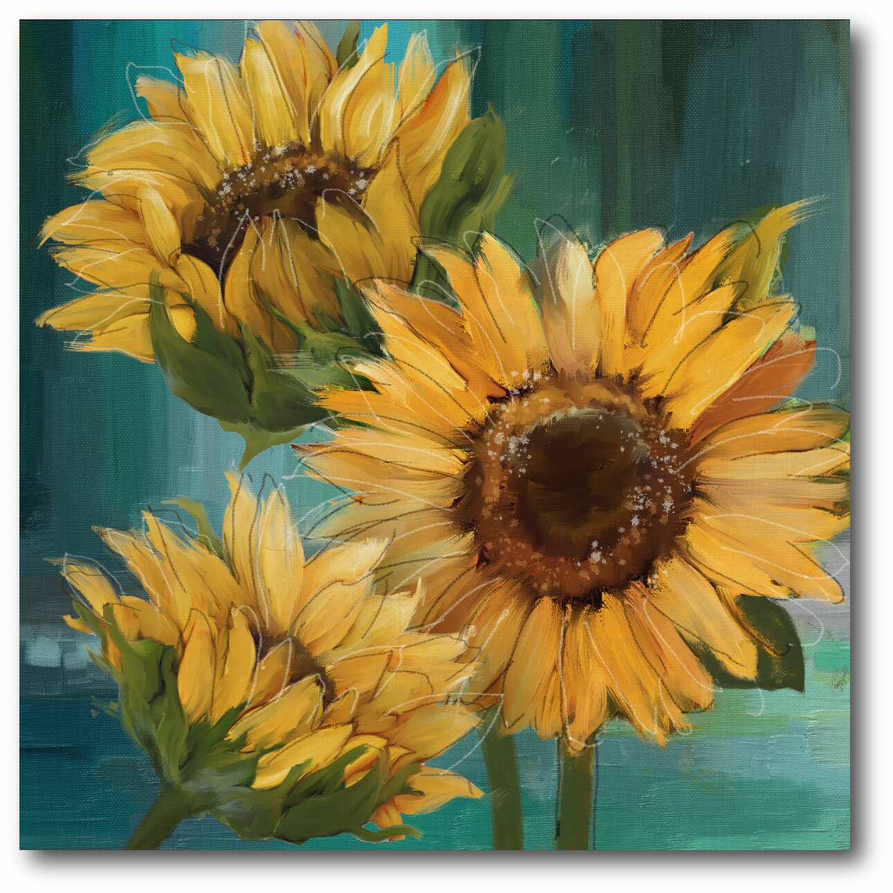 Courtside Market Farmhouse Sunflower Painting Print On
