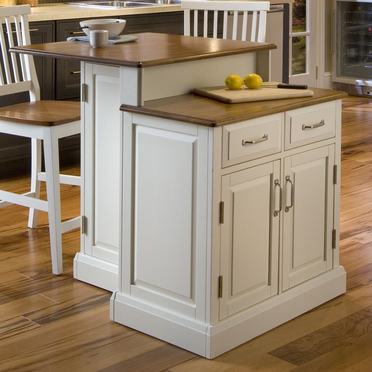 home styles woodbridge 3 piece kitchen island set with wood top