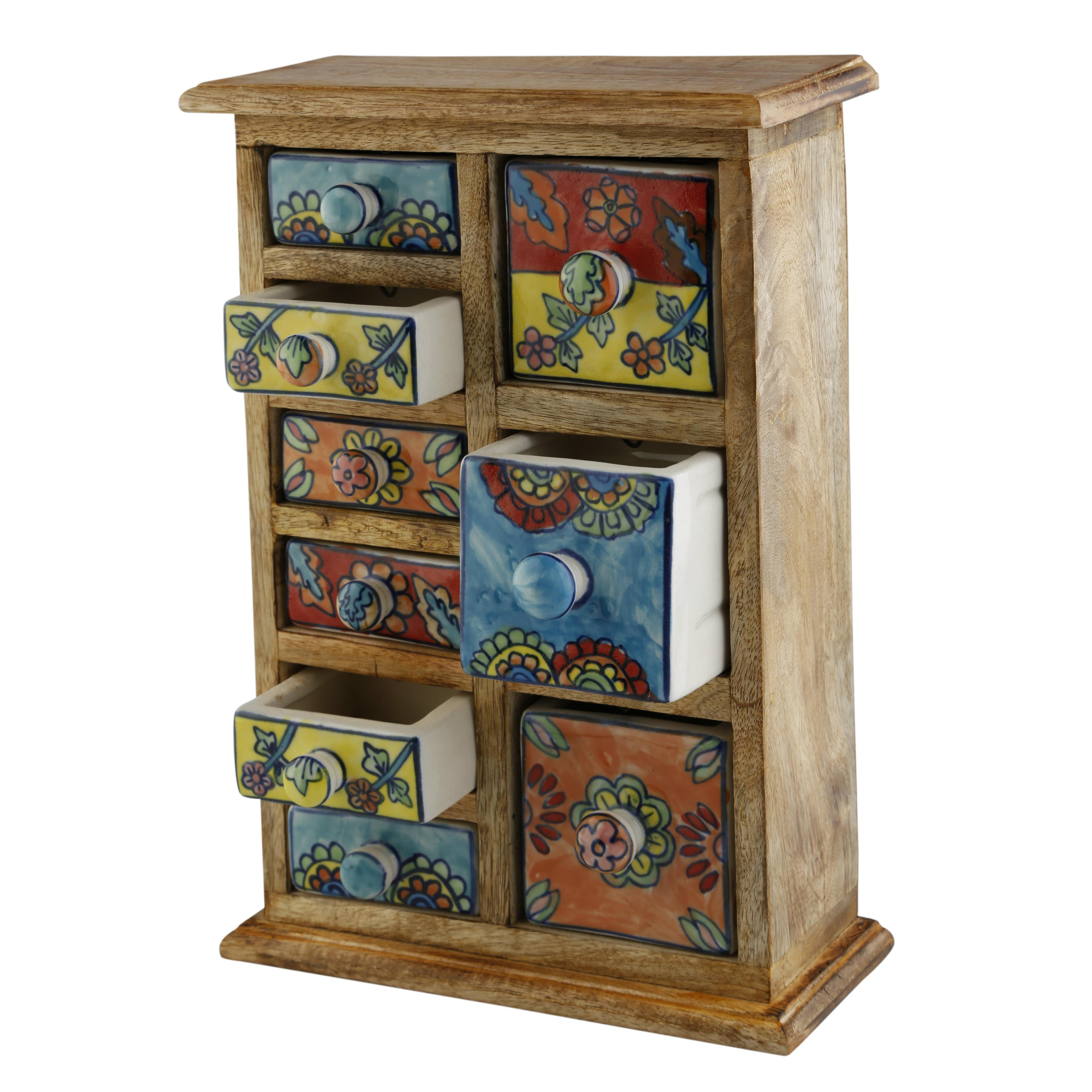 Kitchen cabinet apothecary drawers - Kindwer Curios 9 Drawer Wood Apothecary Chest Amp Reviews Wayfair Ca