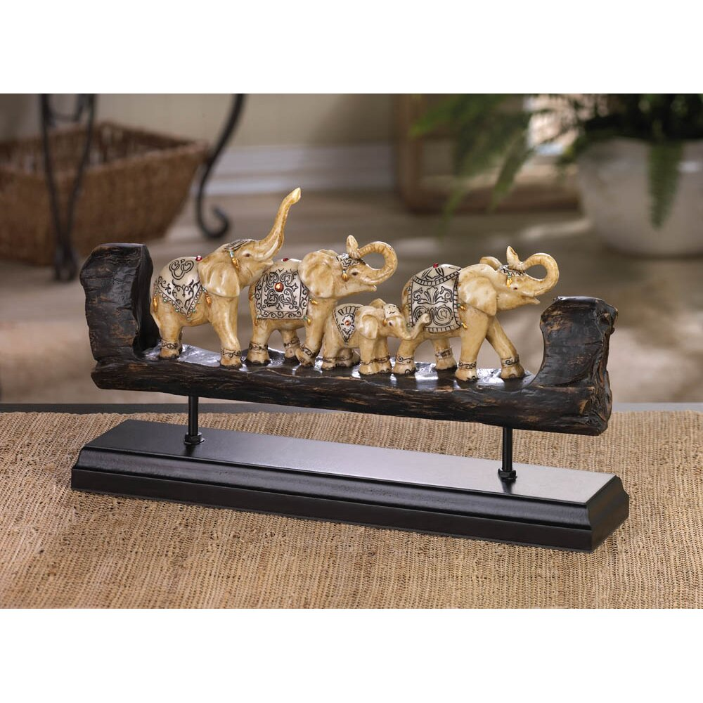 Zingz thingz elephant family carved decor figurine