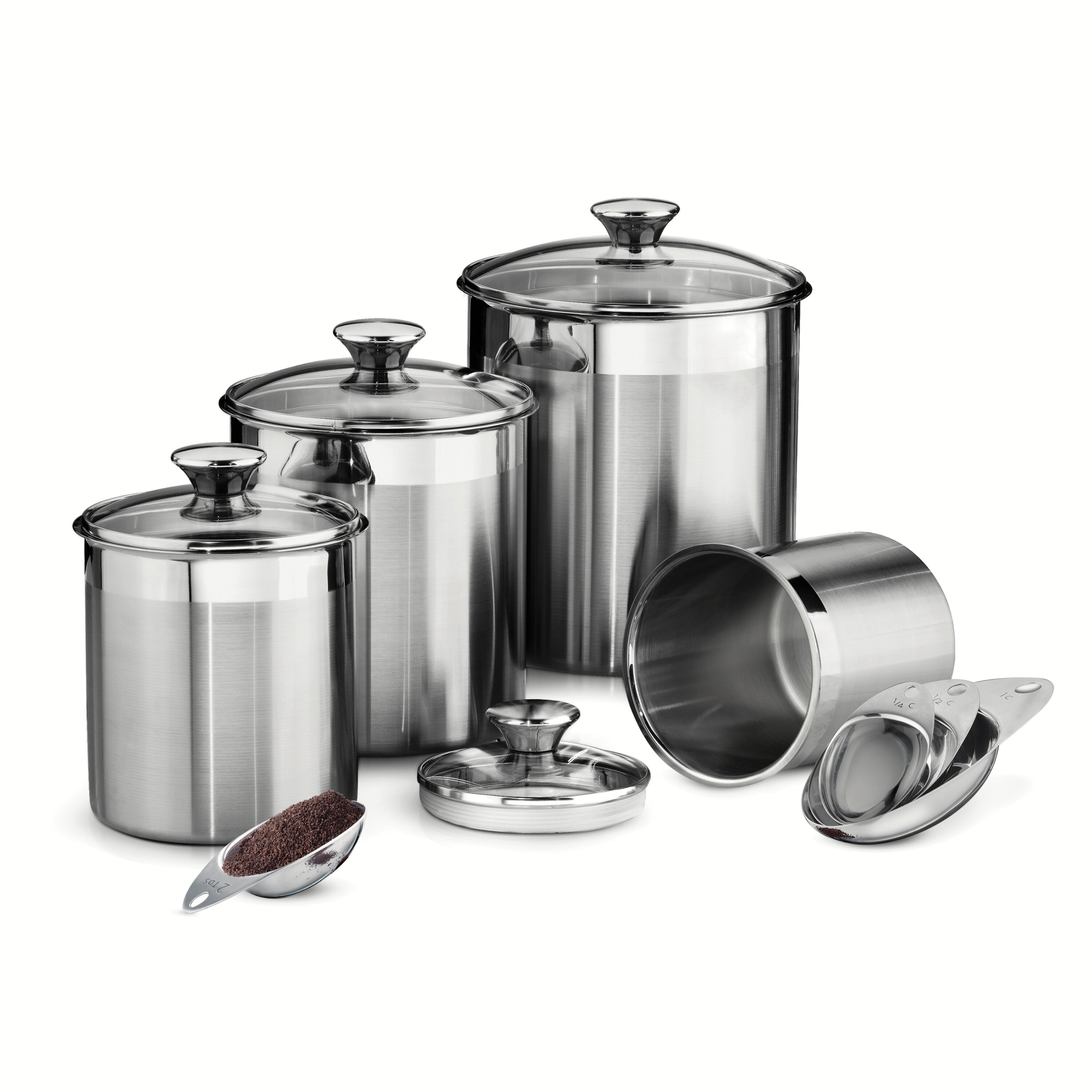 tramontina gourmet 8 piece stainless steel canister and