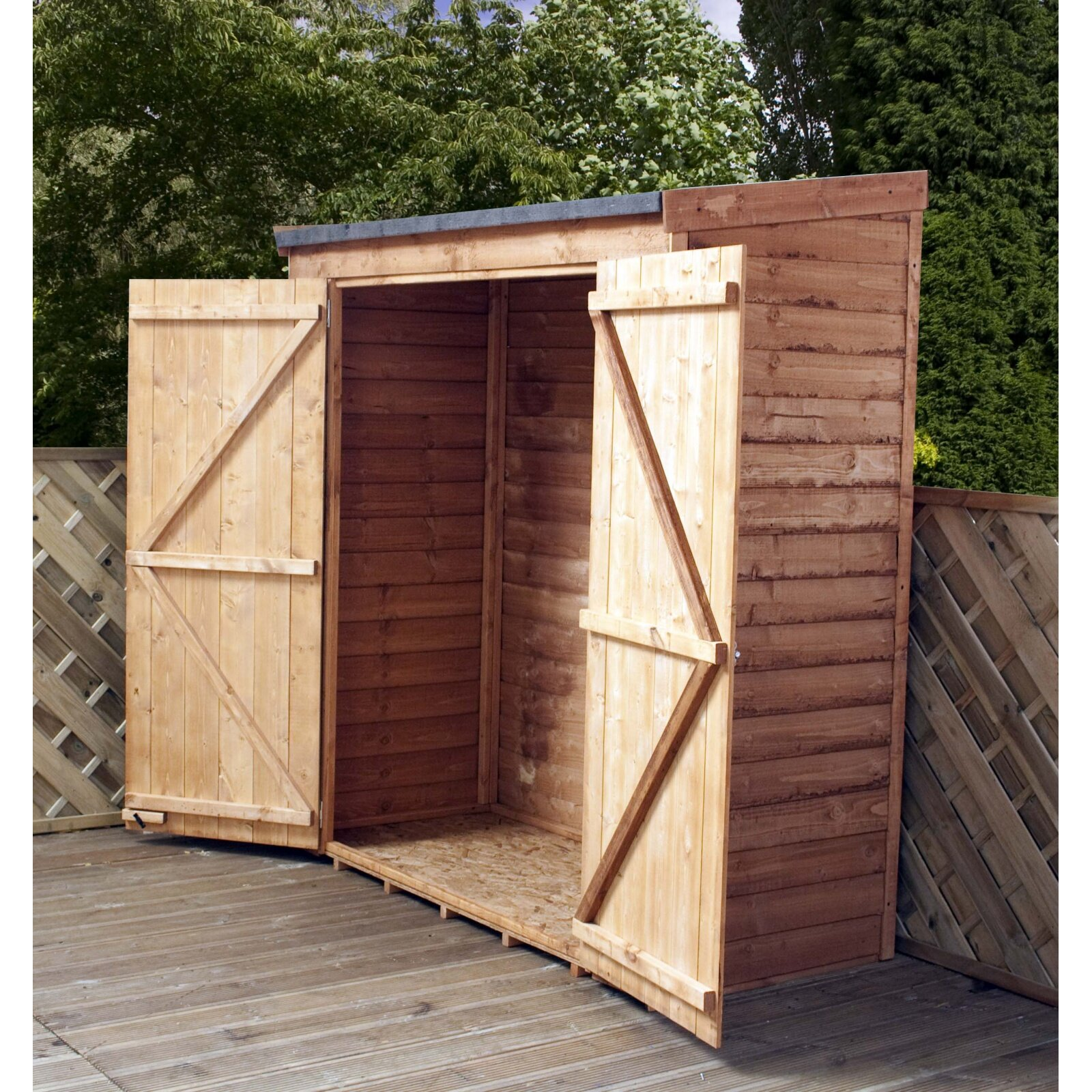 filename mercia garden products 6 ft w x 2 6 ft d wooden overlap pent storage shed