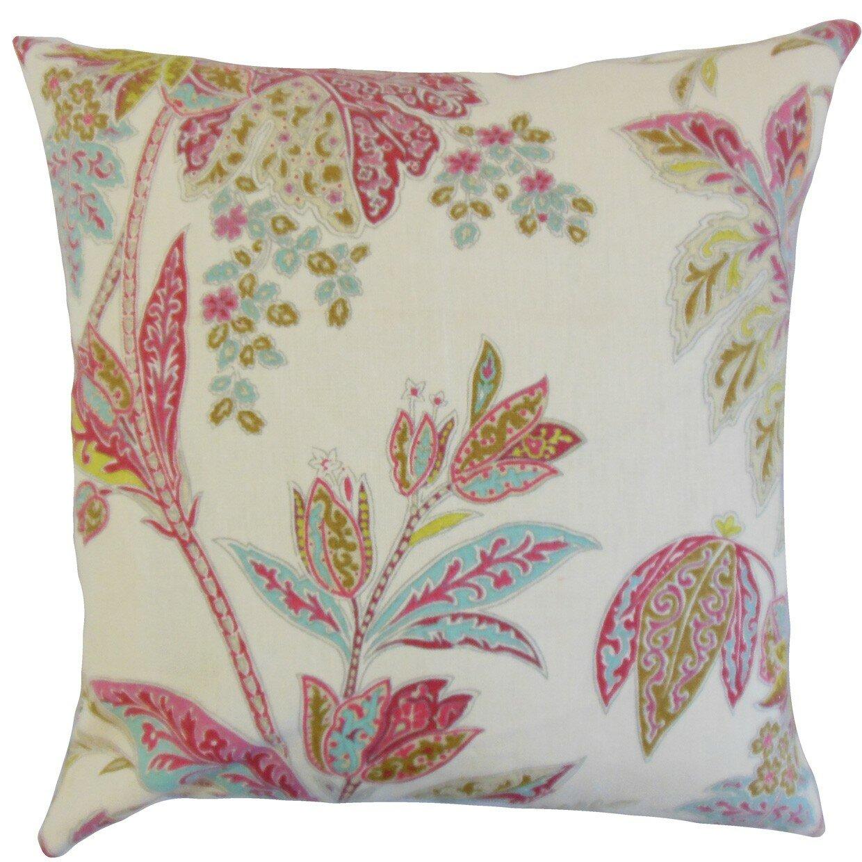 The Pillow Collection Taja Floral Linen Throw Pillow & Reviews Wayfair