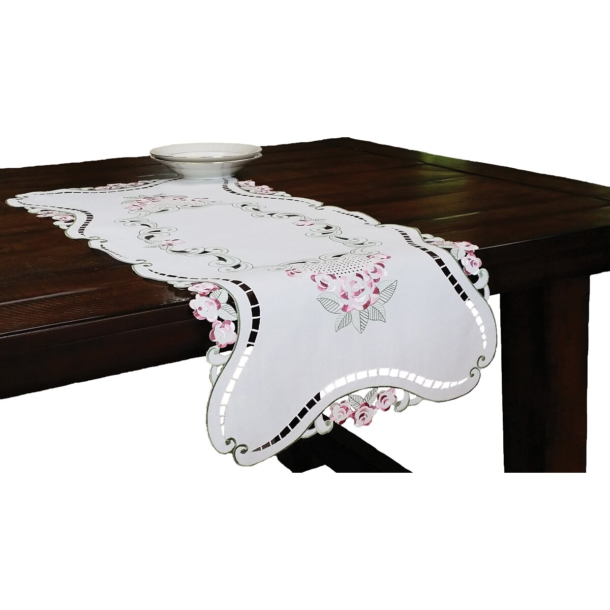 Xia home fashions rose design embroidered cutwork table for Glass cut work designs