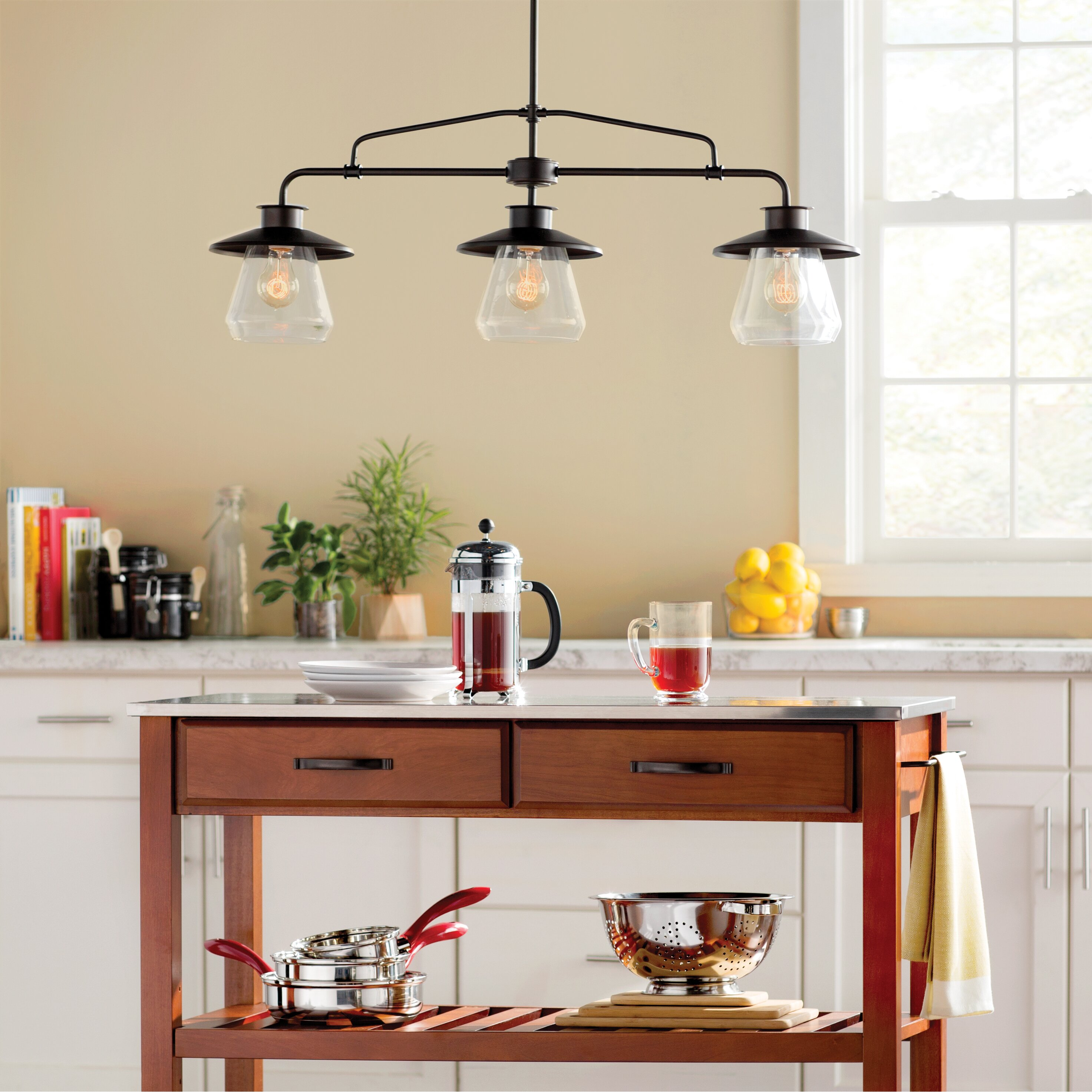 Kitchen Light: Brouillard 3-Light Kitchen Island Pendant & Reviews