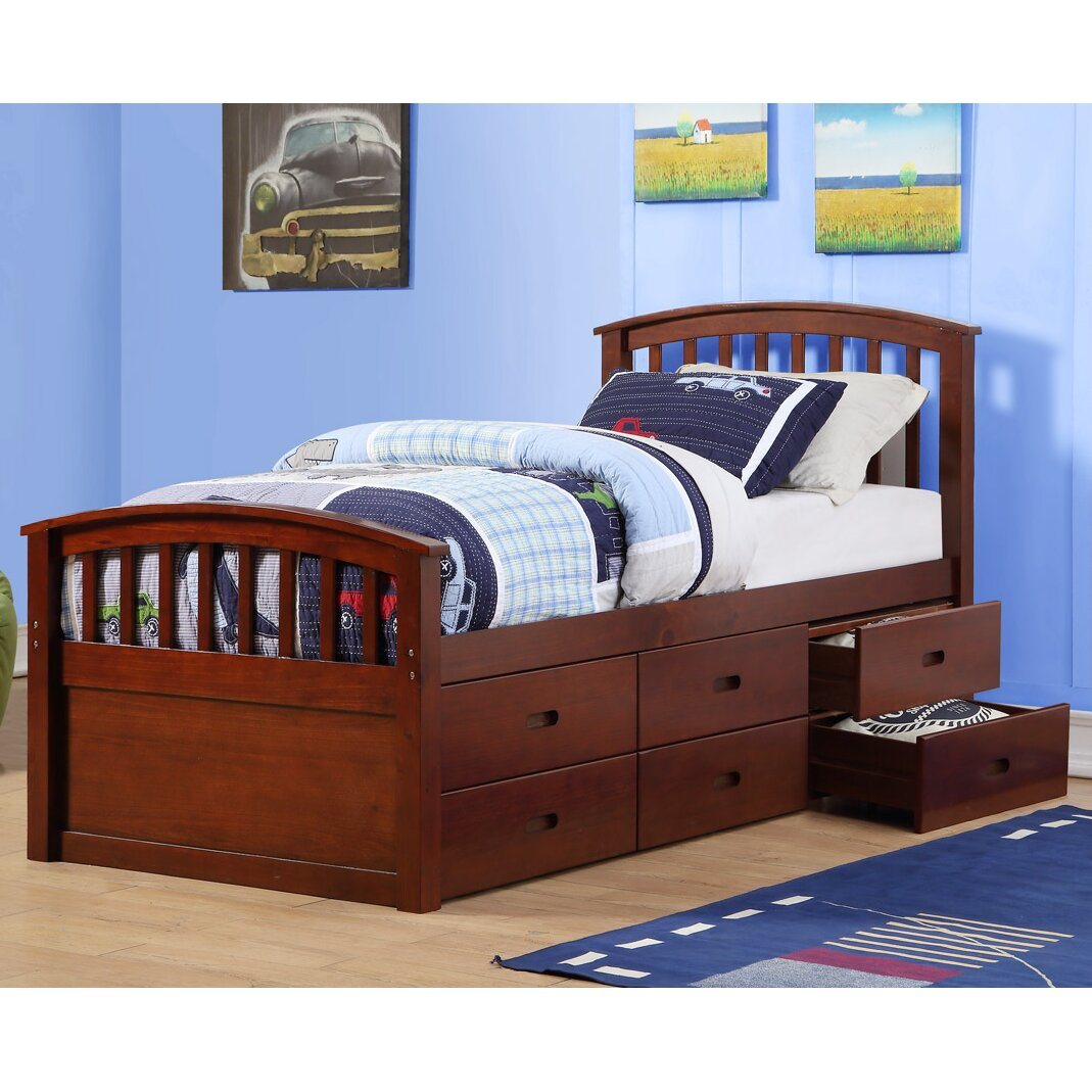 Donco kids twin slat bed with drawers wayfair for Kids twin bed with drawers