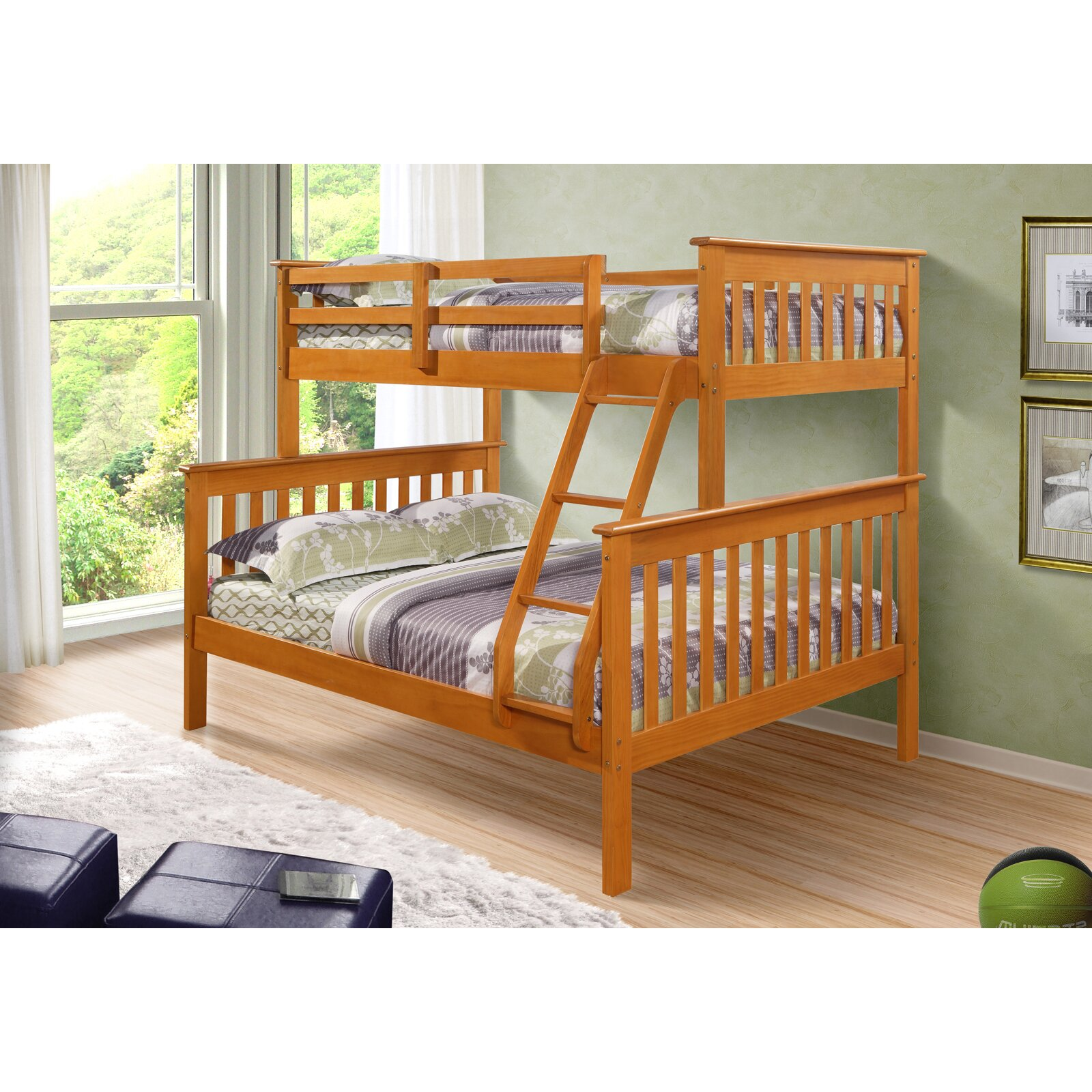 donco kids twin over full bunk bed reviews wayfair. Black Bedroom Furniture Sets. Home Design Ideas