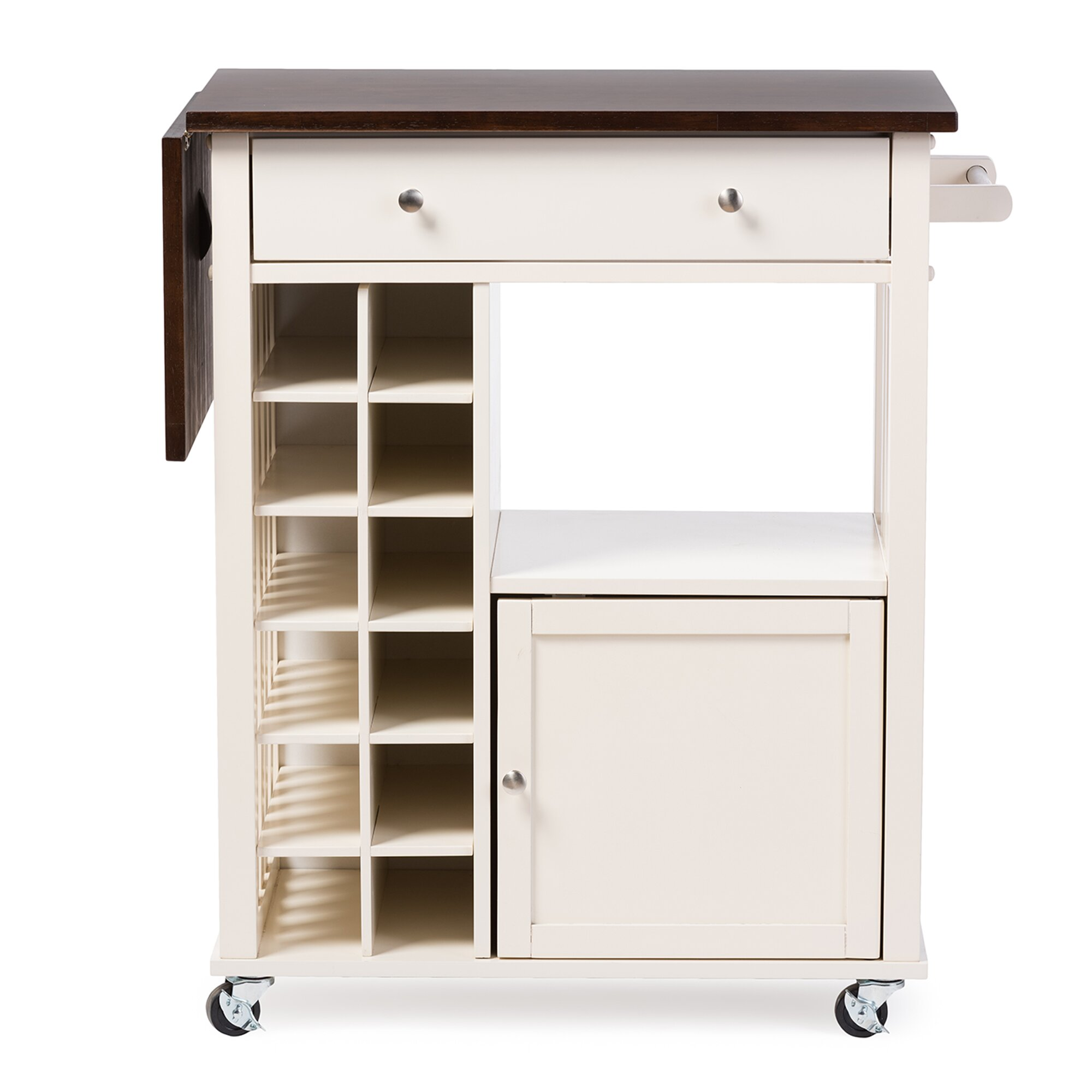 Wholesale Interiors Baxton Studio Justin Solid Wood Kitchen Cart With Dark Oak Drop Leaf Top And