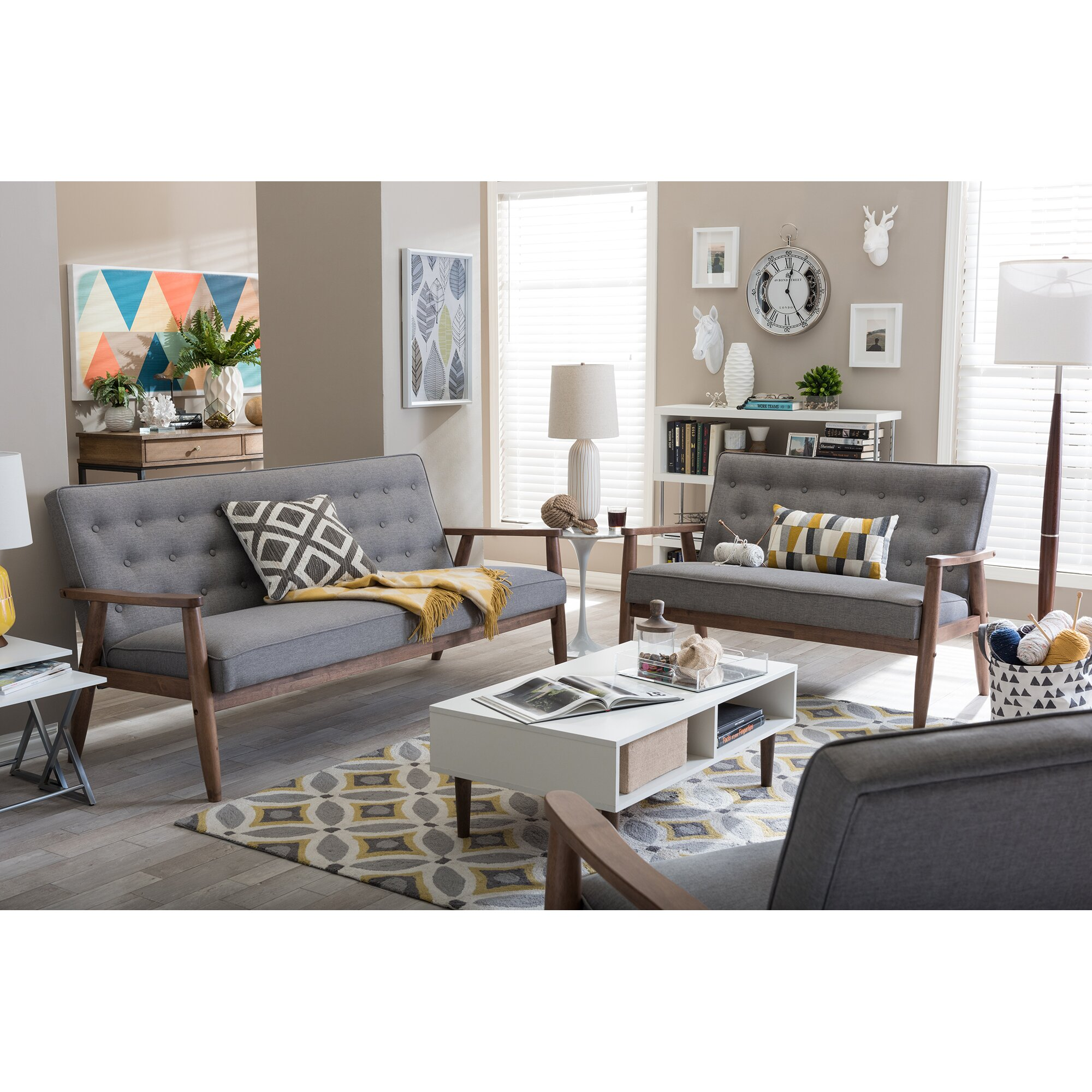 Wholesale Interiors Sorrento Baxton Studio Upholstered 3 Piece Living Room Set Reviews Wayfair