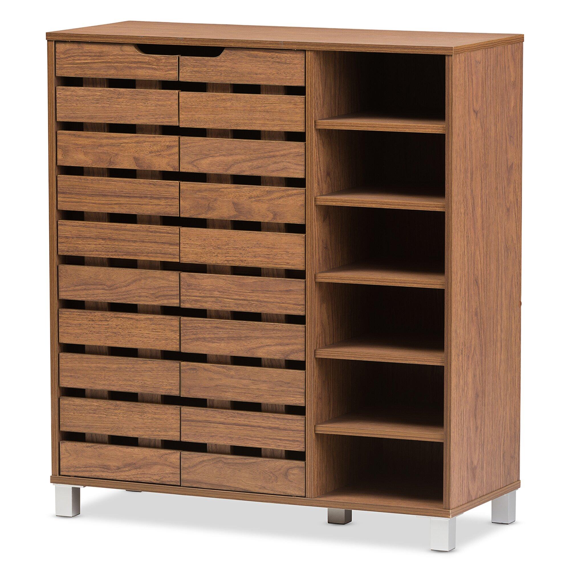 Storage Cabinet Wood Wholesale Interiors Baxton Studio Beppe 18 Pair Shoe Storage