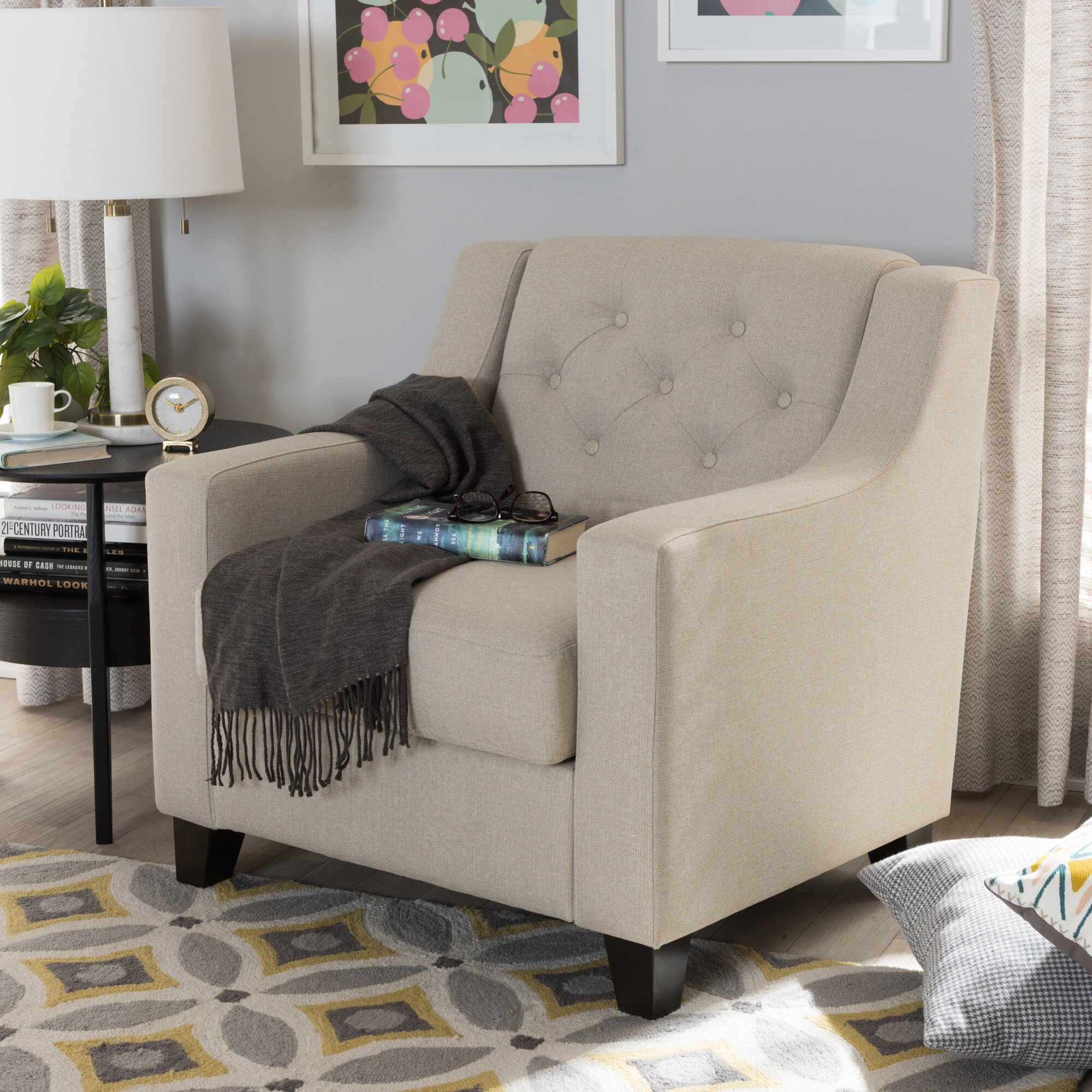 Living Room Club Chairs Wholesale Interiors Baxton Studio Silvia Upholstered Button Tufted