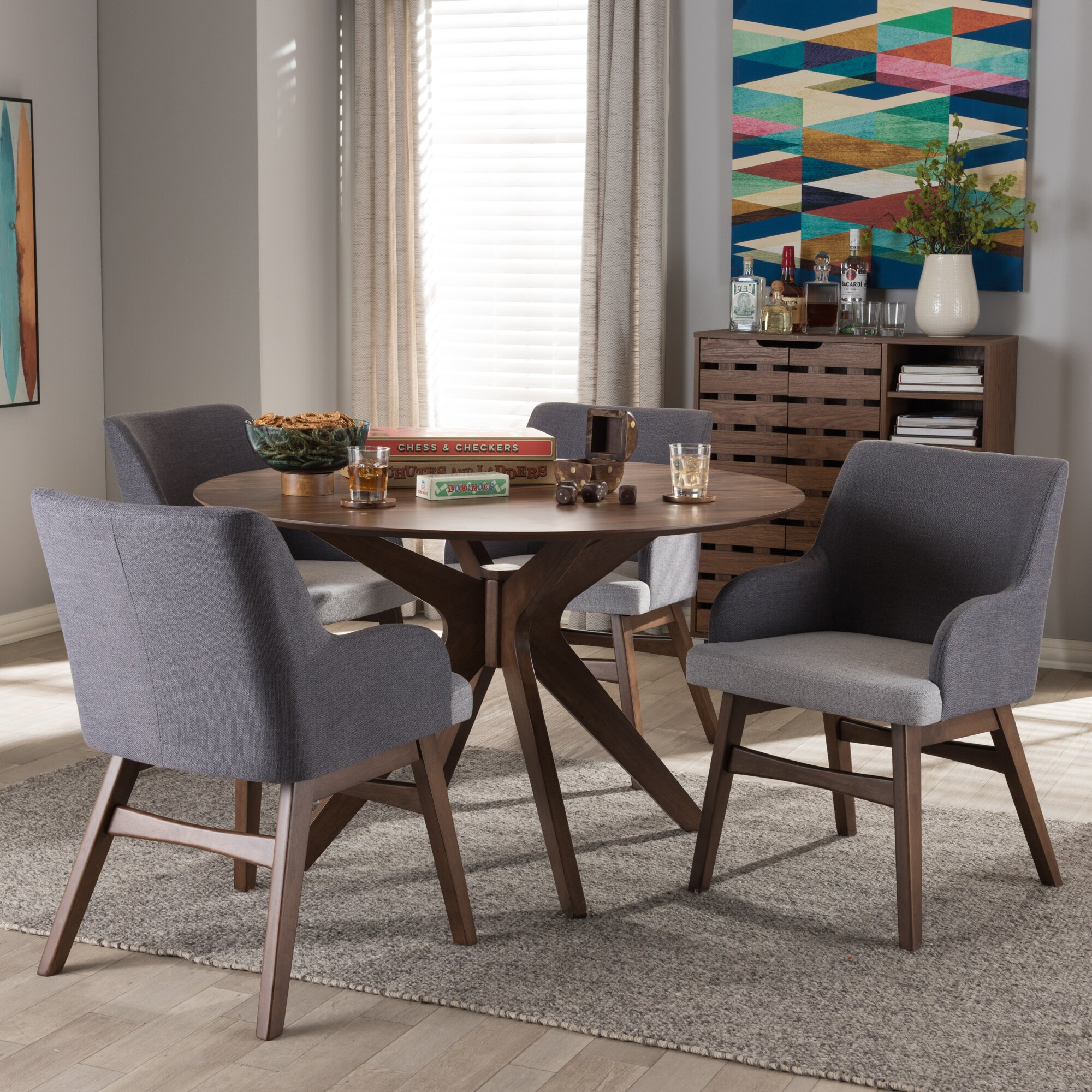 Monte MidCentury Modern Wood Round  Piece Dining Set  Reviews - Mid century modern dining room table