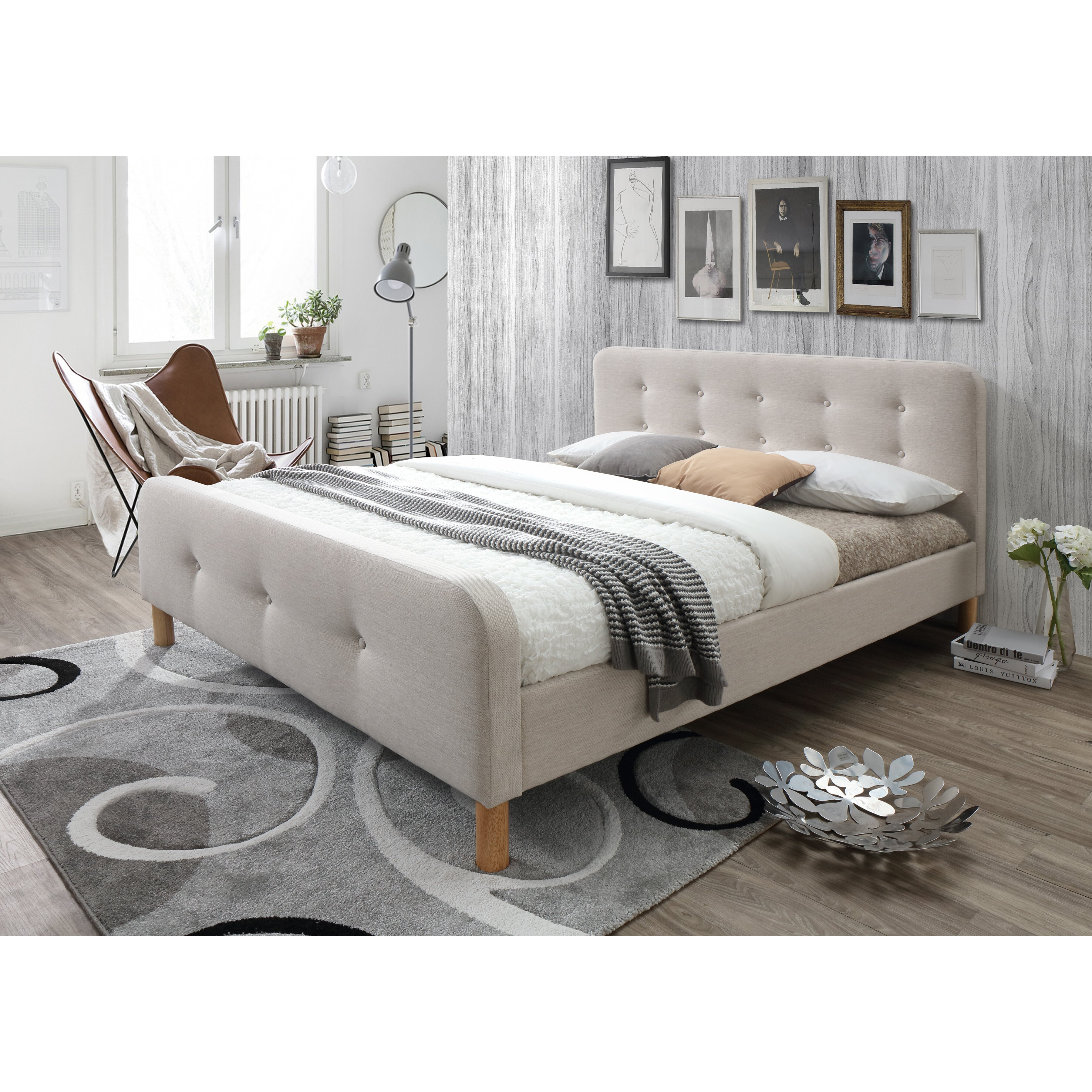 Wholesale Interiors Baxton Studio Riccardo Mid Century Fabric Upholstered Platform Bed Reviews