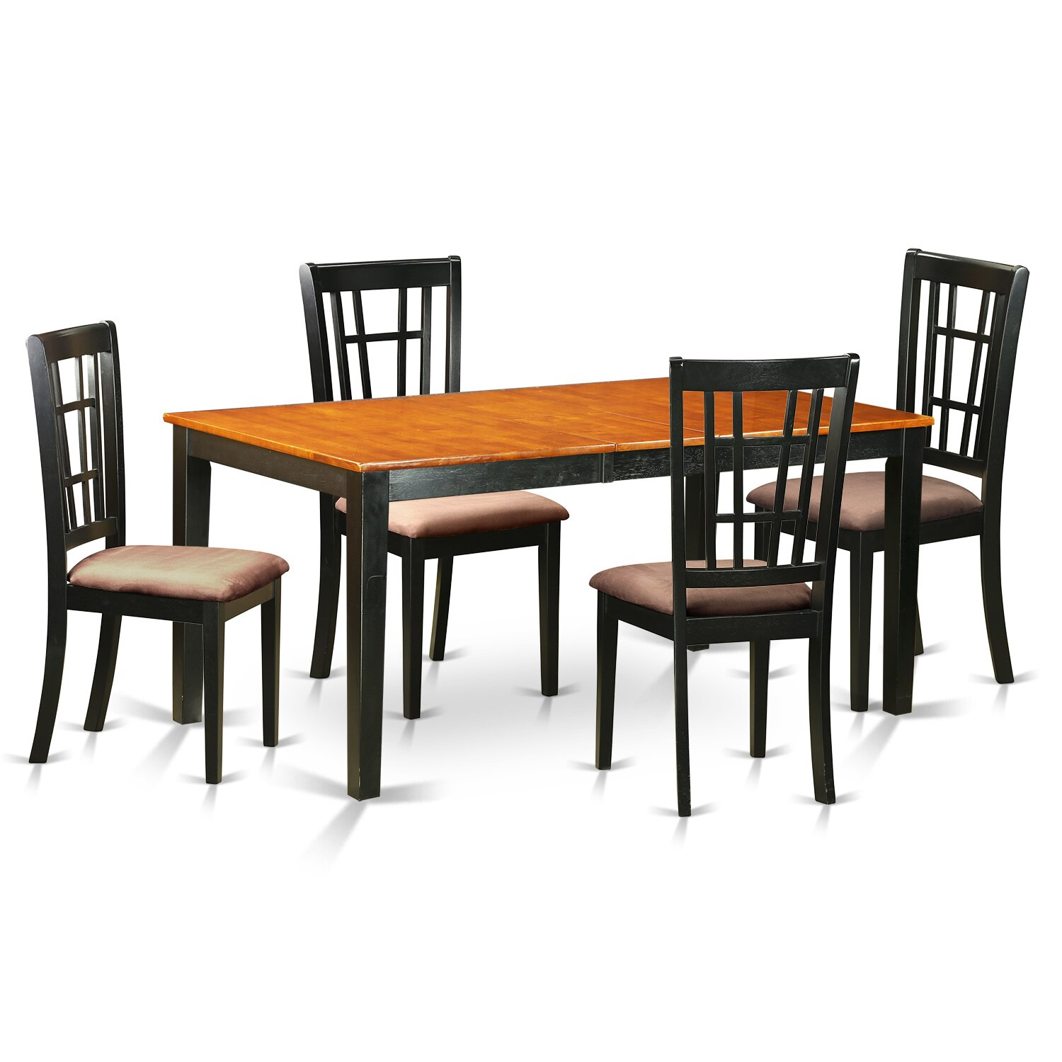 East West Furniture Henl7 Brn W 7 Piece Dining Table Set