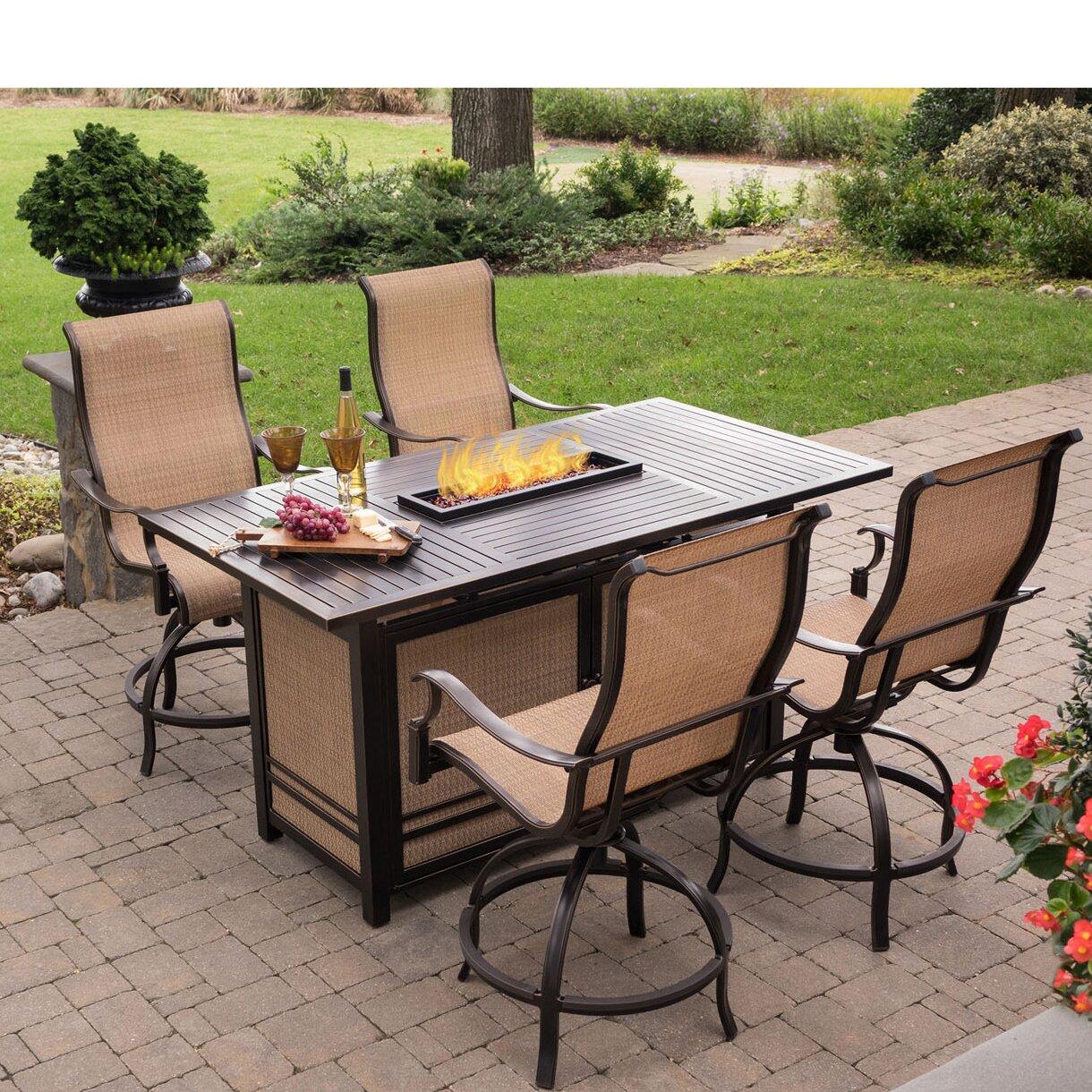 5 Piece Bar Table Set Hanover Monaco 5 Piece Bar Set With 30000 Btu Firepit Wayfair