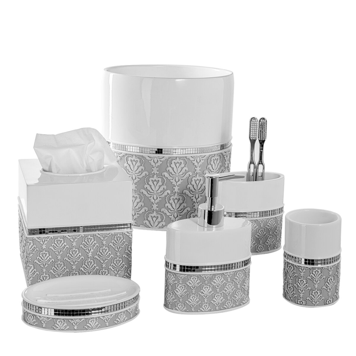 black crackle bathroom accessories. Creative Scents 6 Piece Bathroom Accessory Set Wayfair  Crackle Glass Accessories dact us