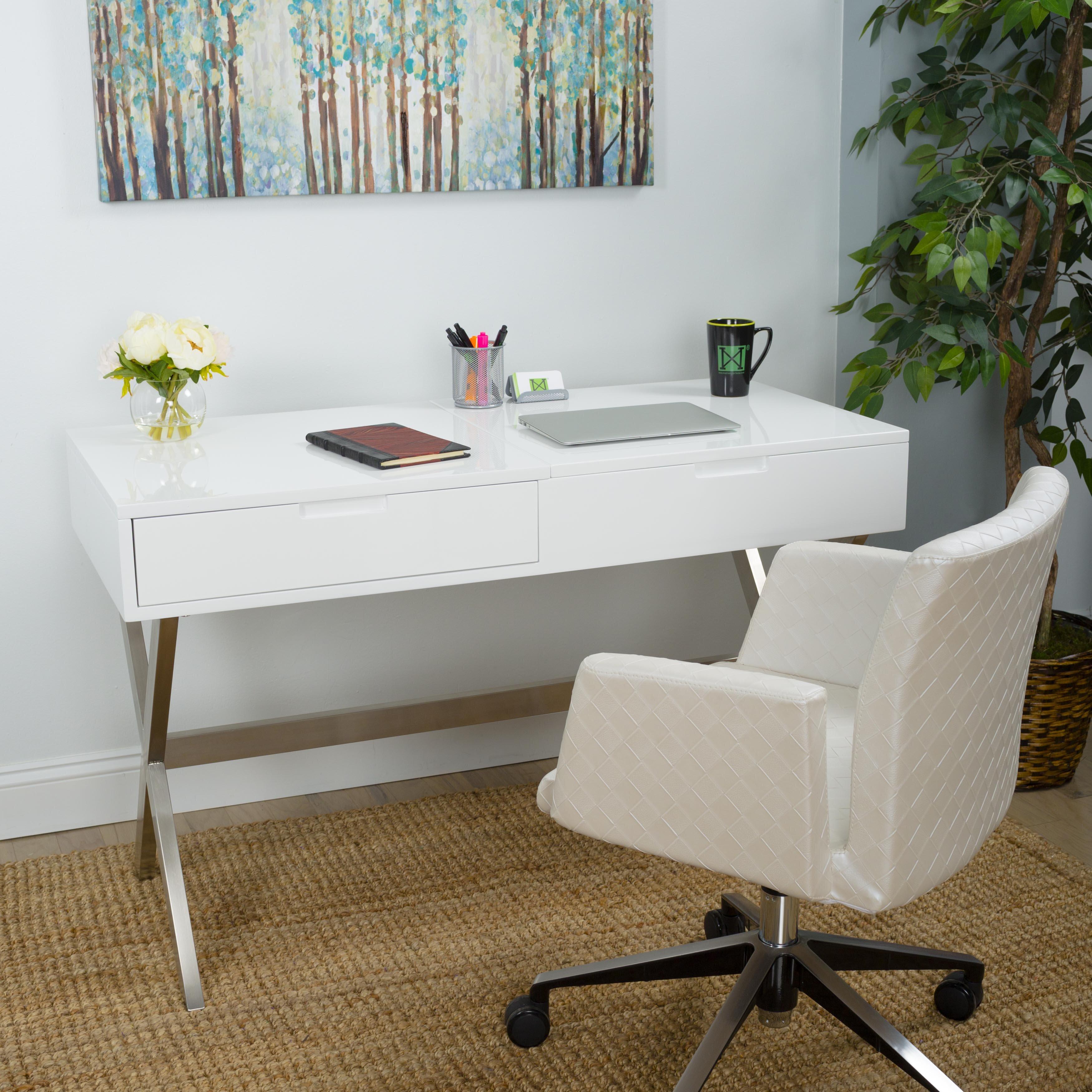 Matrix Porsha Desk Vanity Set with Mirror & Reviews | Wayfair
