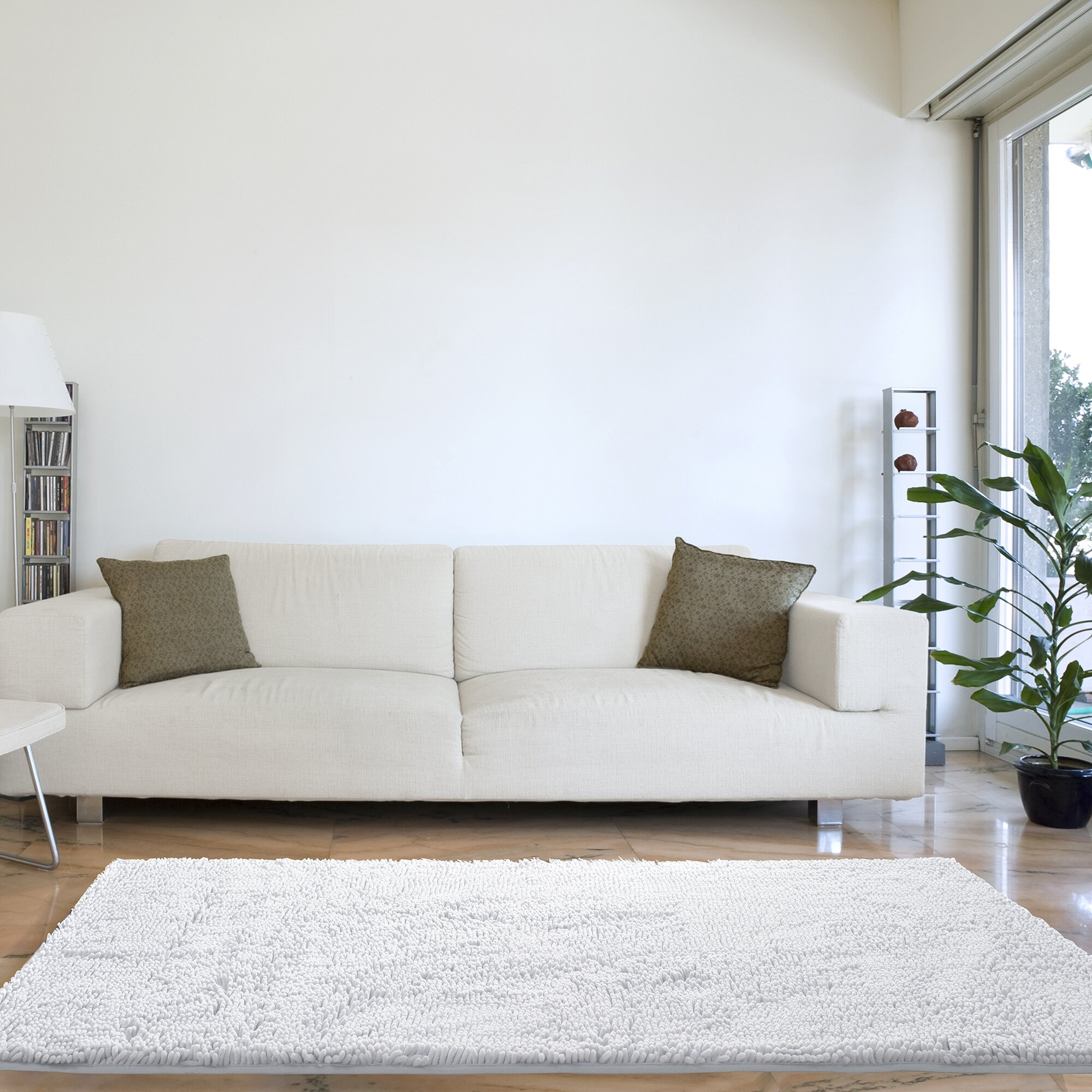 White Living Room Rug Lavish Home High Pile White Area Rug Reviews Wayfair