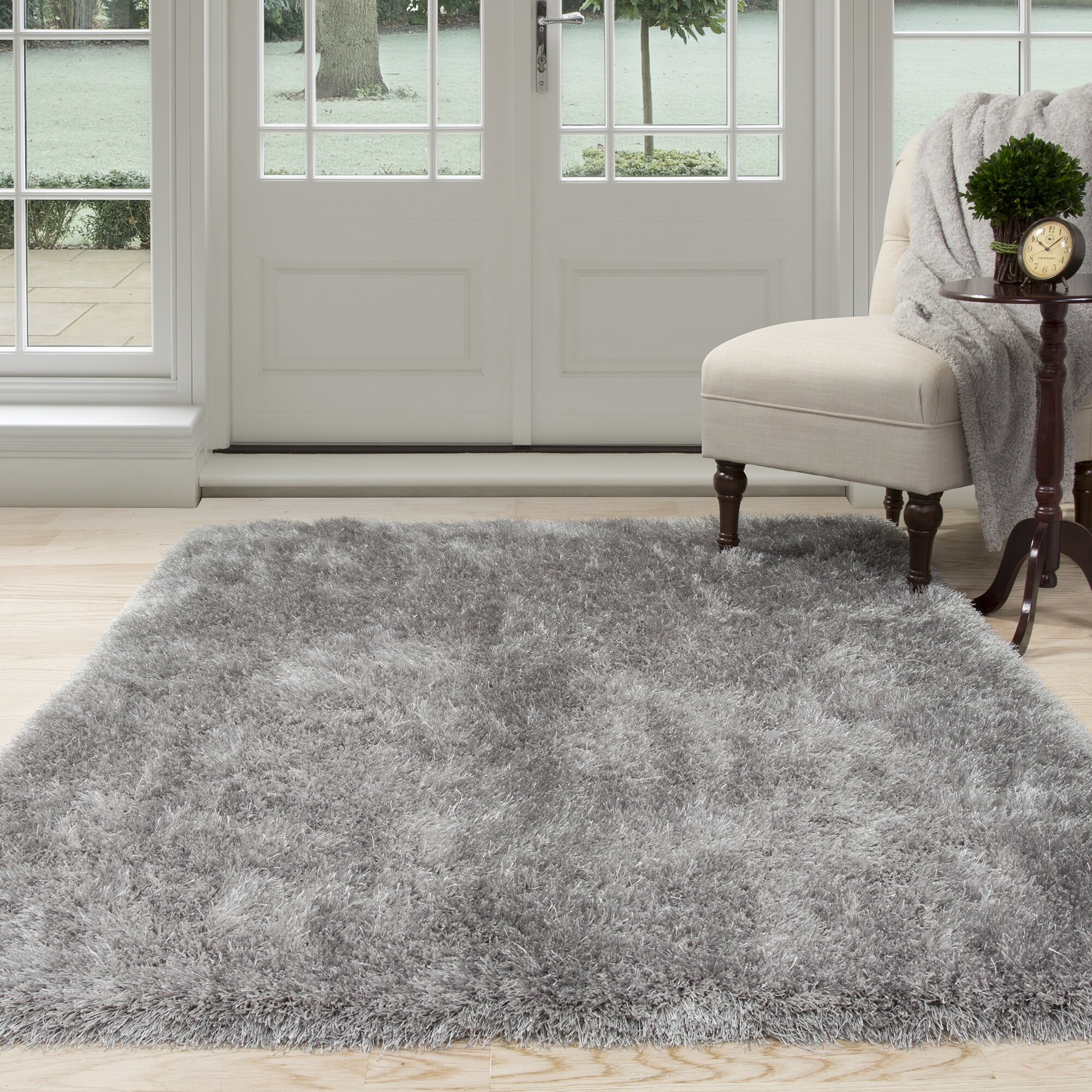 lavish home gray shag area rug
