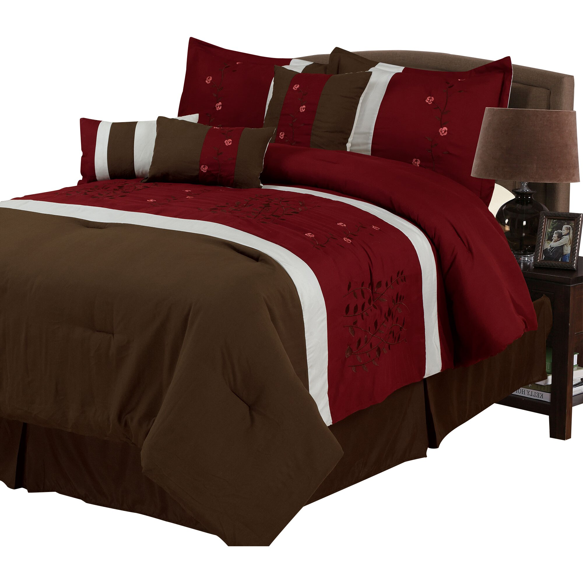 Brown and red bedding - Lavish Home Sarah 7 Piece Comforter Set In Brown Amp Red