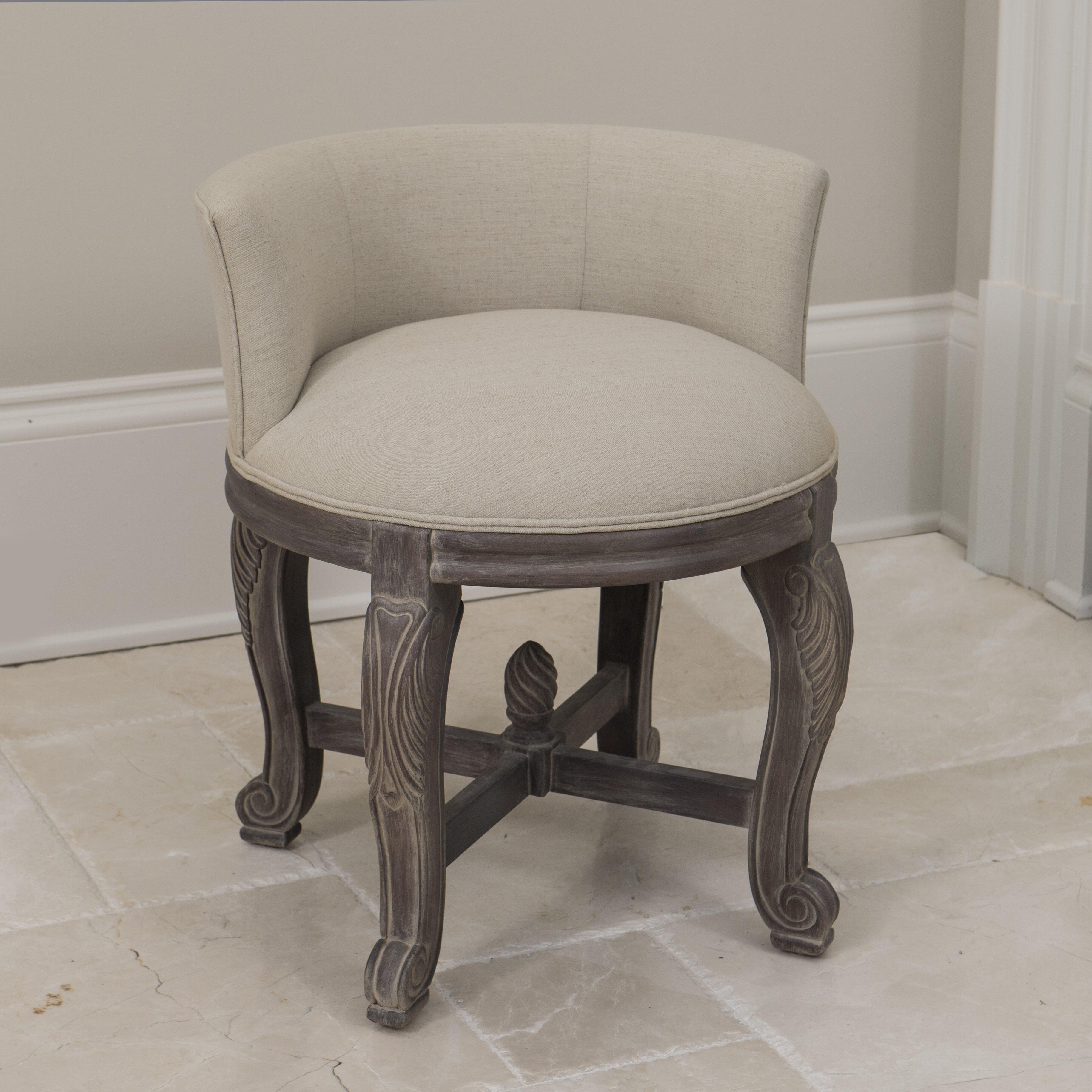 Gianna Vanity Chair Queensley Upholstered Black Walnut Vanity – Vanity Chair for Bathroom